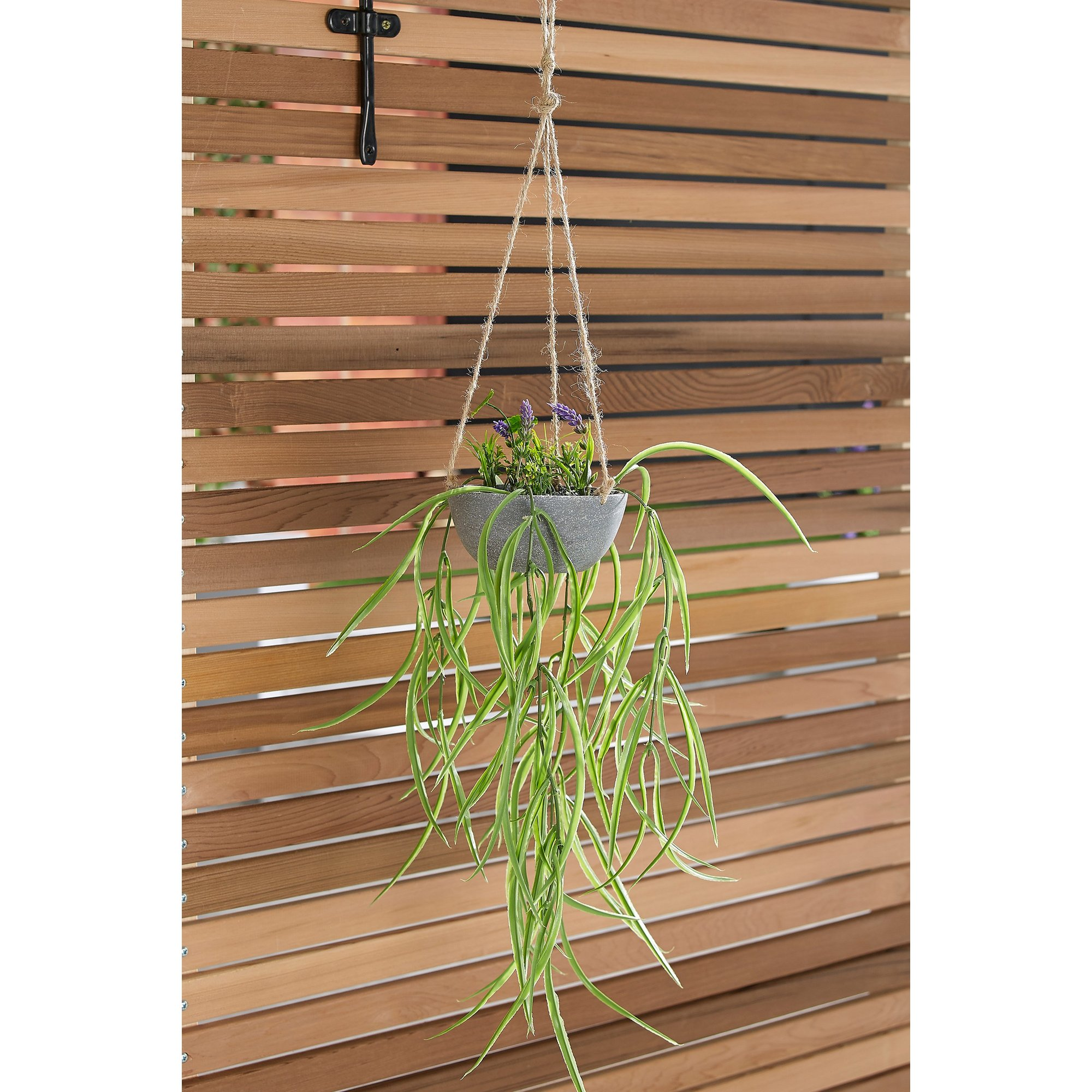 Image of Faux Sword Grass Hanging Pot Plant