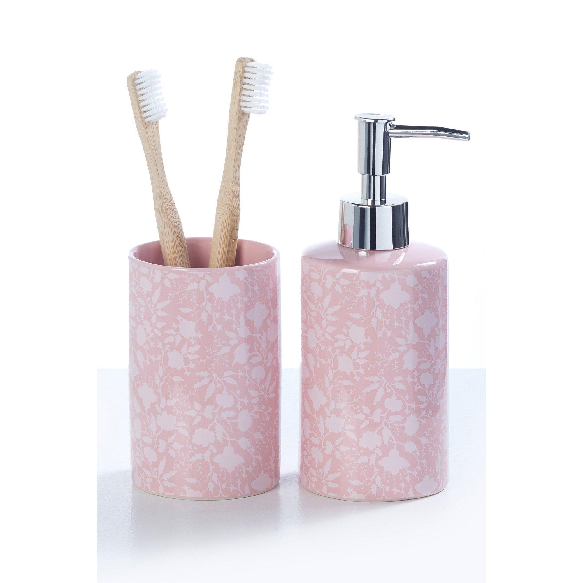 Image of 2-Piece Floral Ceramic Accessory Set