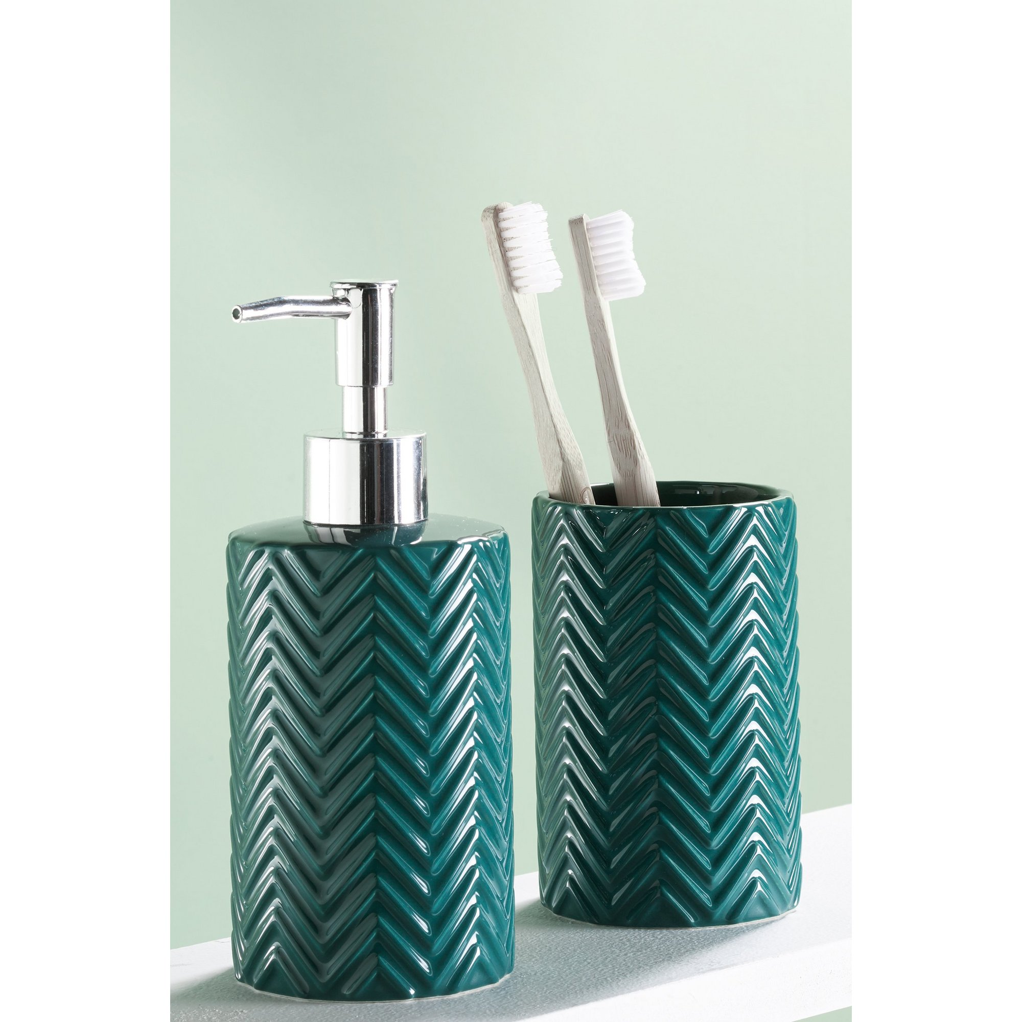 Image of 2-Piece Emerald Green Chevron Accessory Set