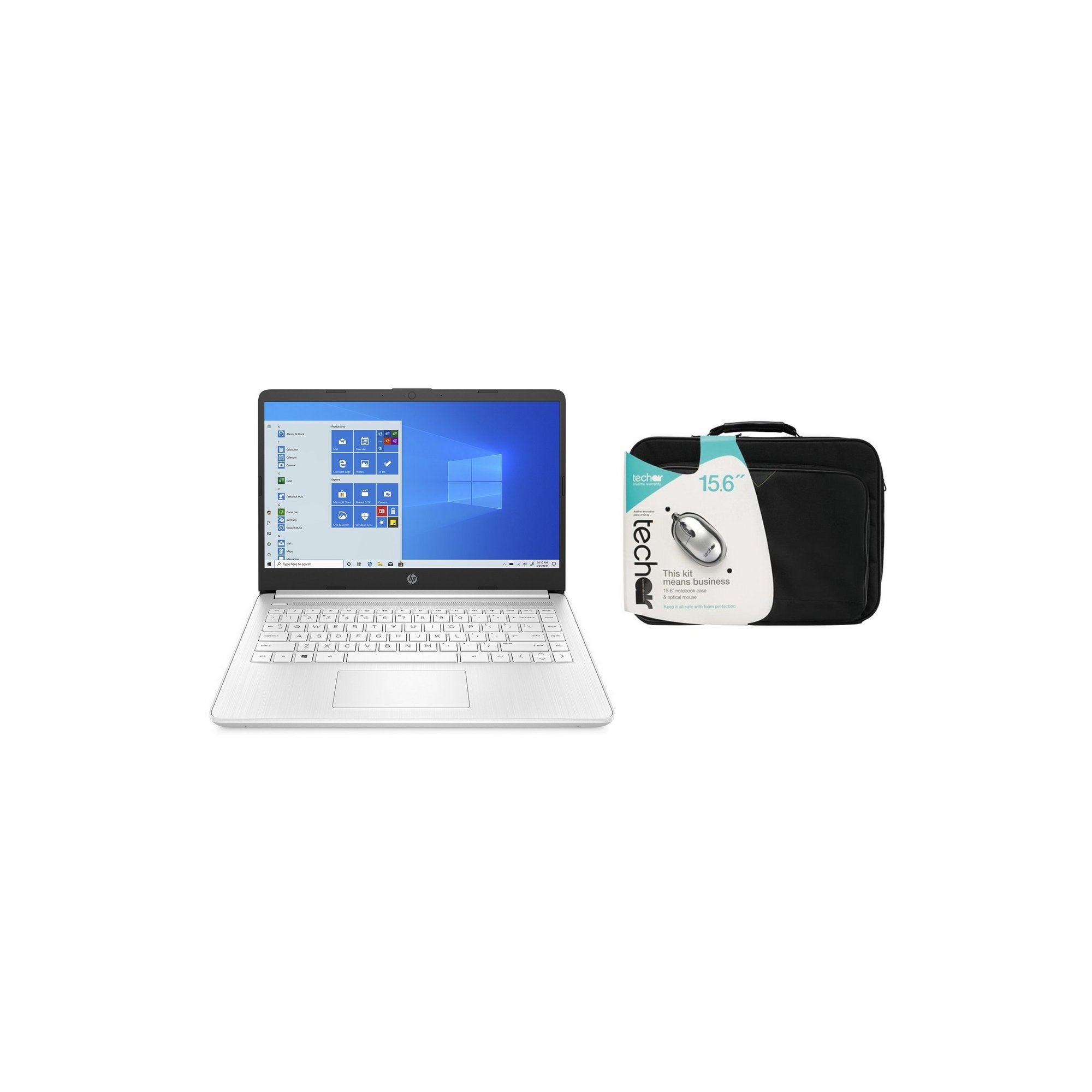 Image of HP 14s-fq0017 AMD 64GB Windows 10 Laptop and Case Bundle