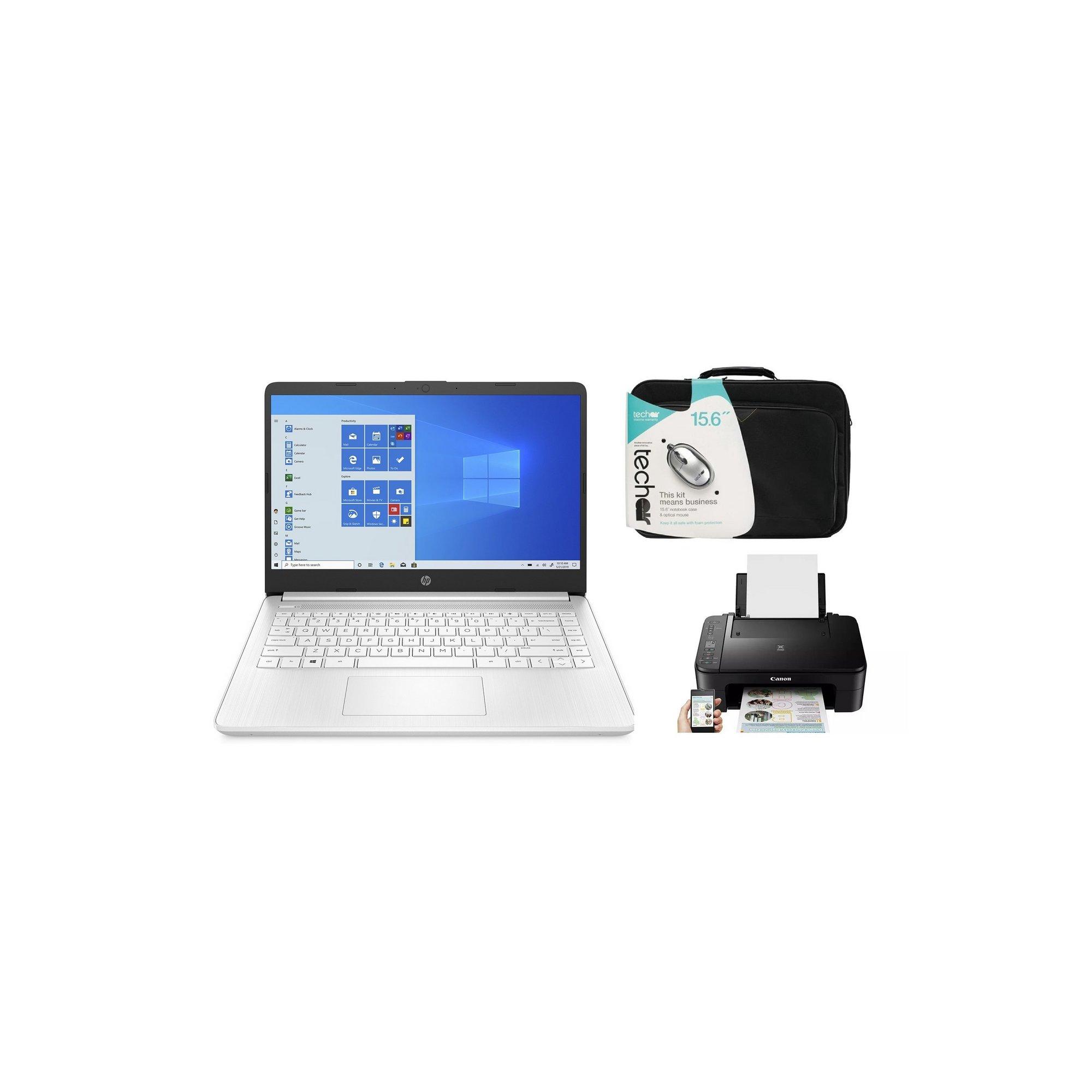 Image of HP 14s-fq0017 AMD 64GB Windows 10 Laptop&#44 Case and Printer Bundle