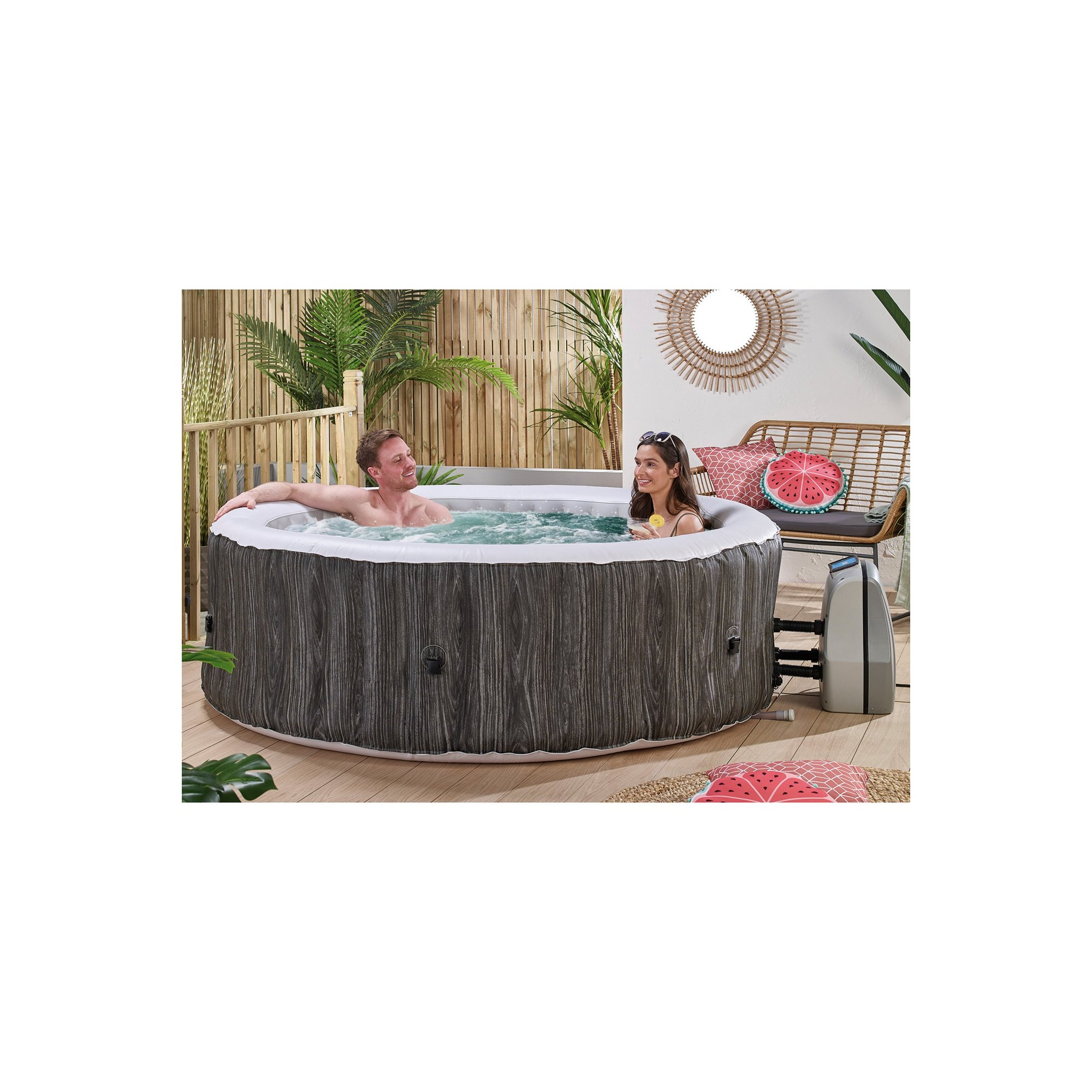 Image of 6 Person Wood-Effect Spa with Floating LED Light