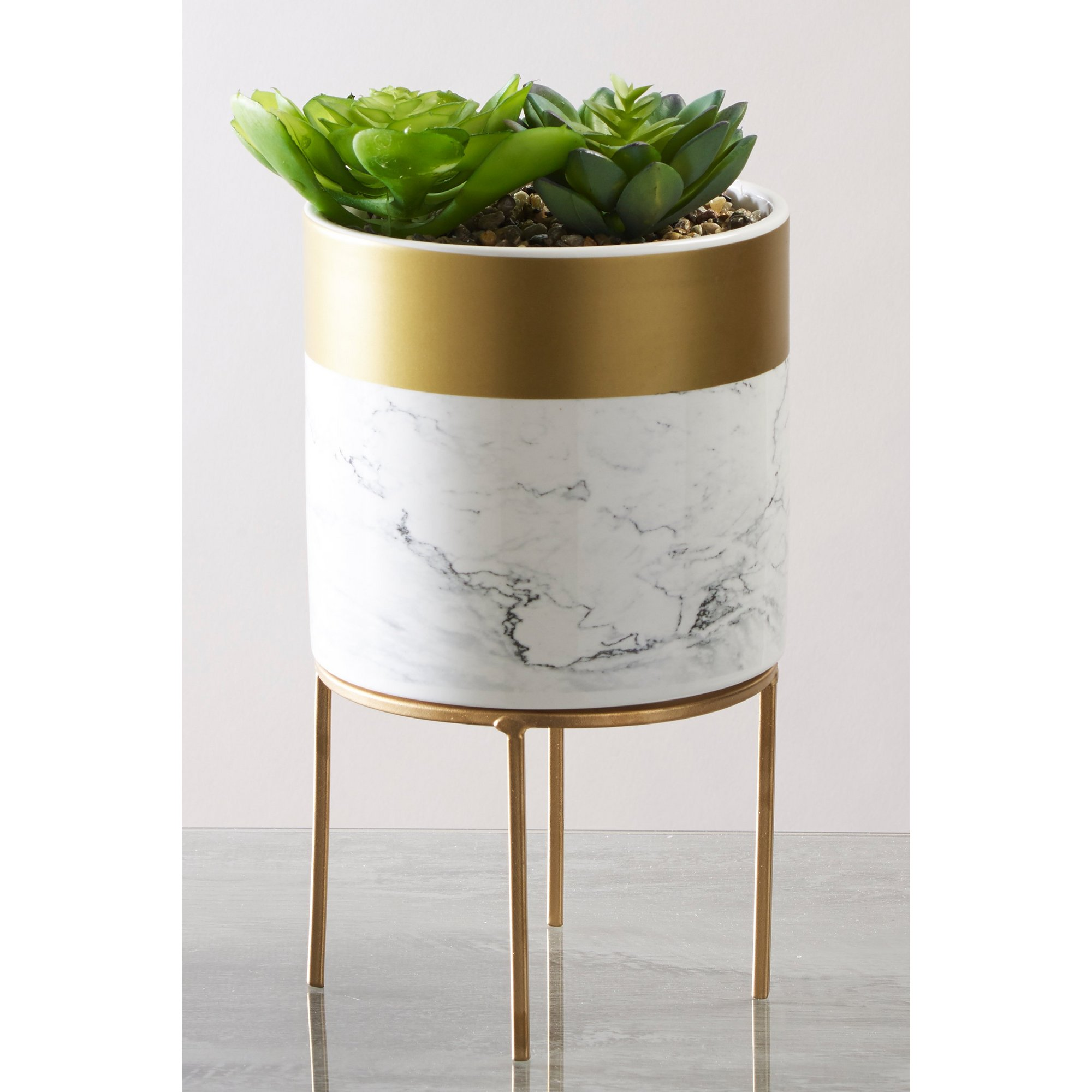 Image of Marble and Gold Look Planter and Succulent