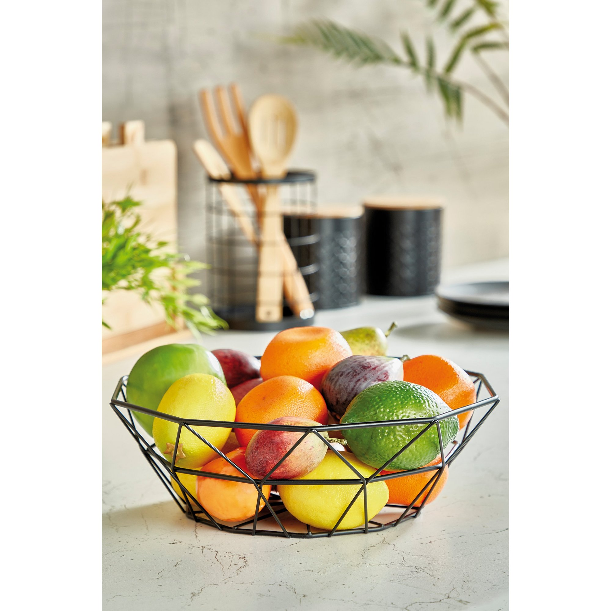 Image of Black Metal Geo Fruit Basket
