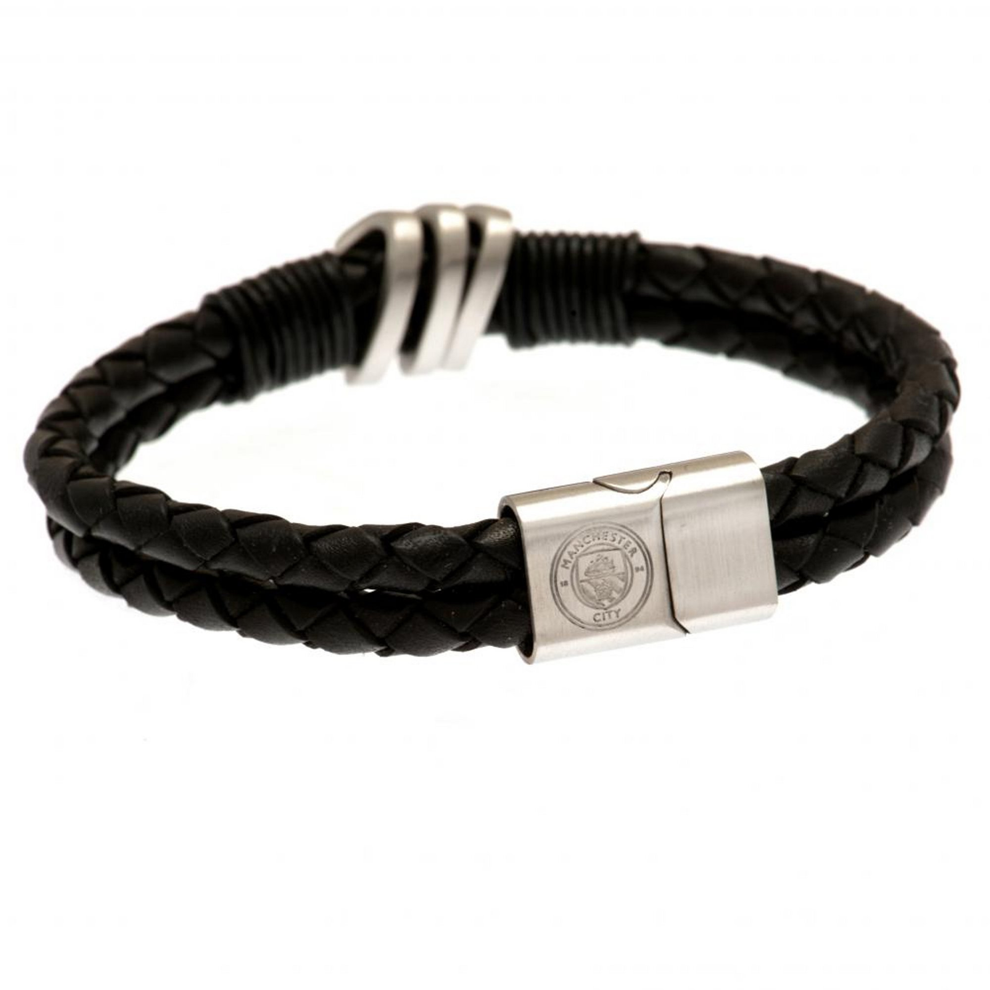 Image of Manchester City FC Stainless Steel and Leather Crest Bracelet