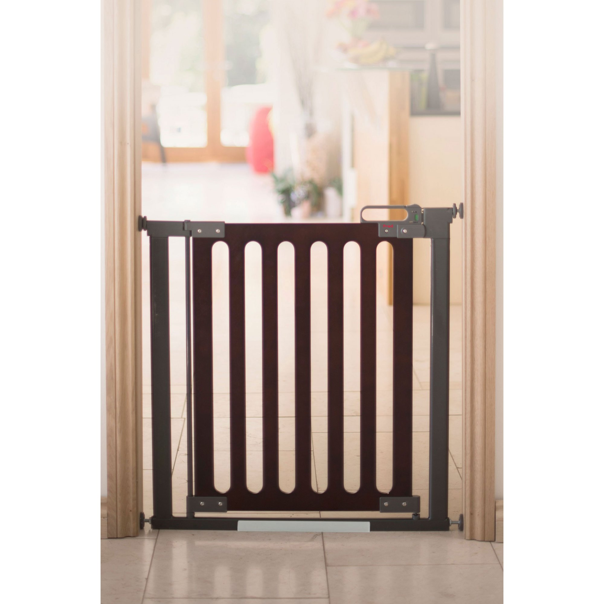 Image of Fred Pressure Fit Dark Wood Wooden Stair Gate