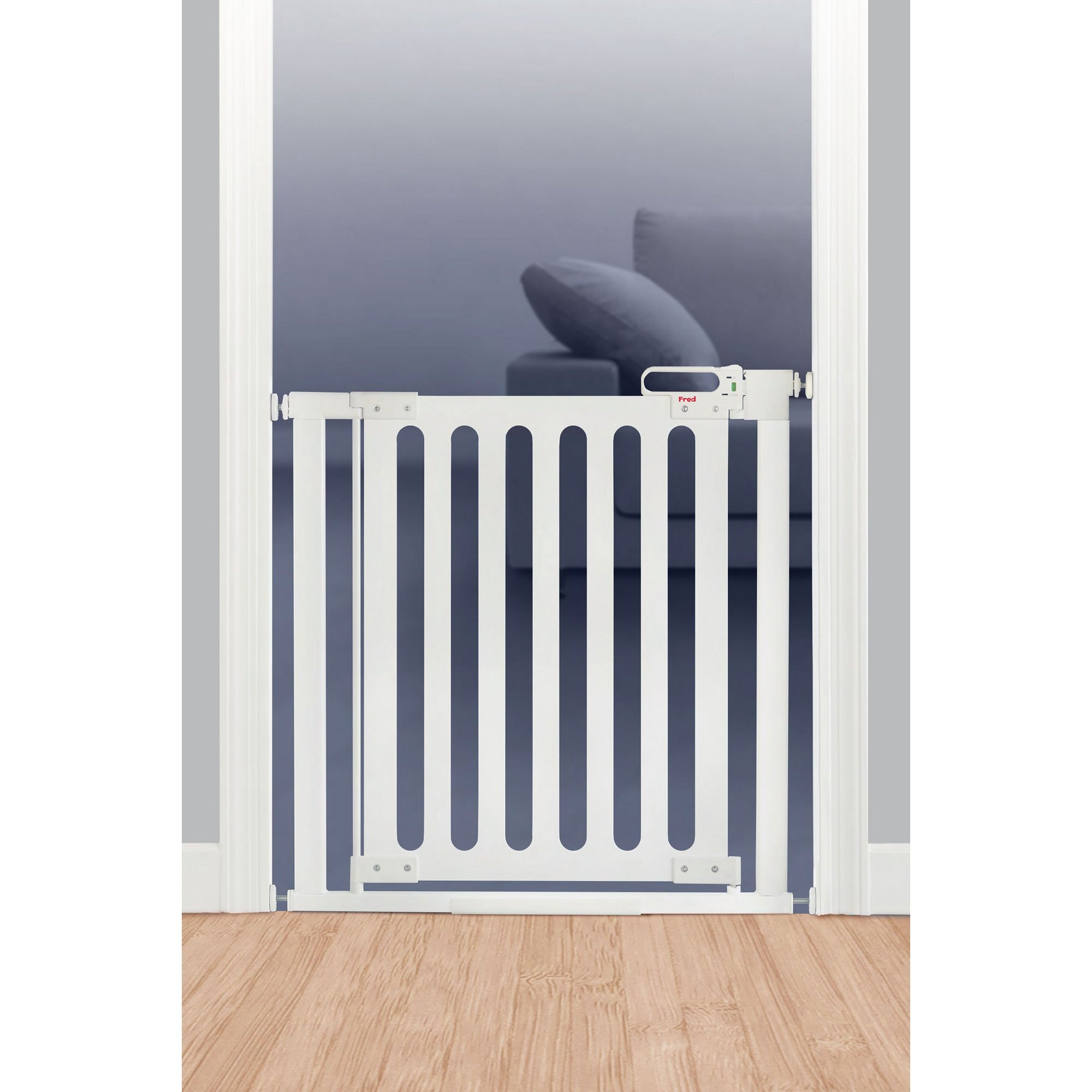 Image of Fred Pressure Fit White Wood Wooden Stair Gate