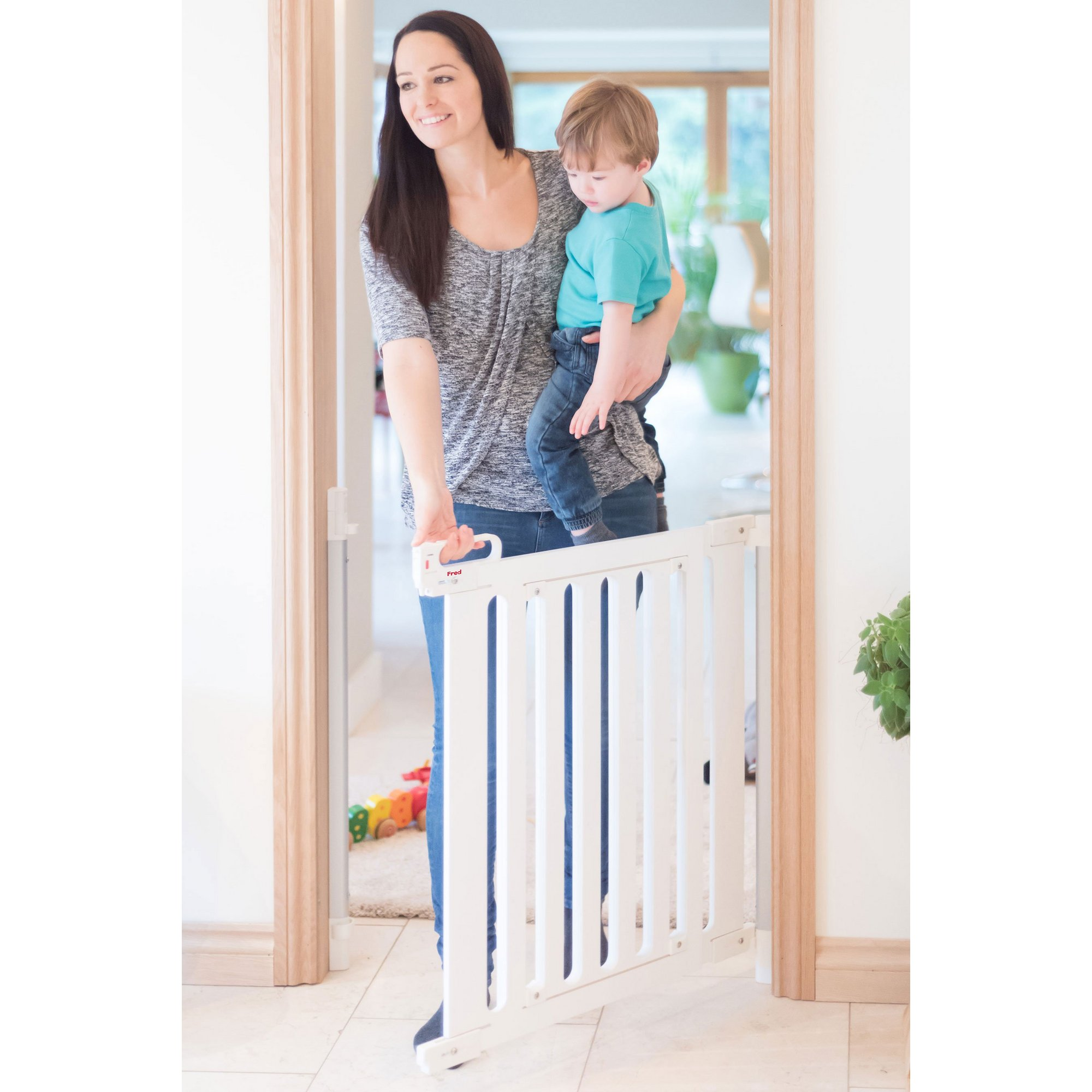 Image of Fred Screw Fit White Wood Panel Wooden Stair Gate