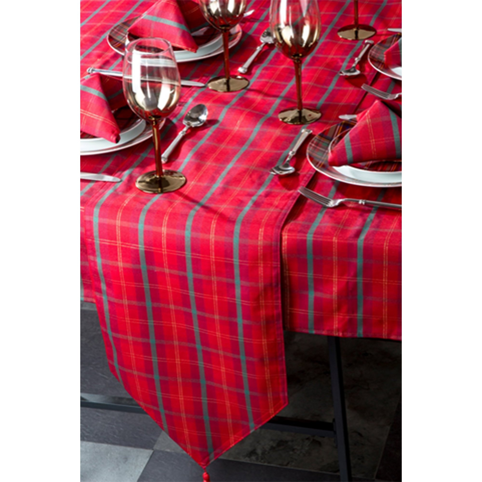 Image of 10 Piece Tartan Jacquard Table Linen Set