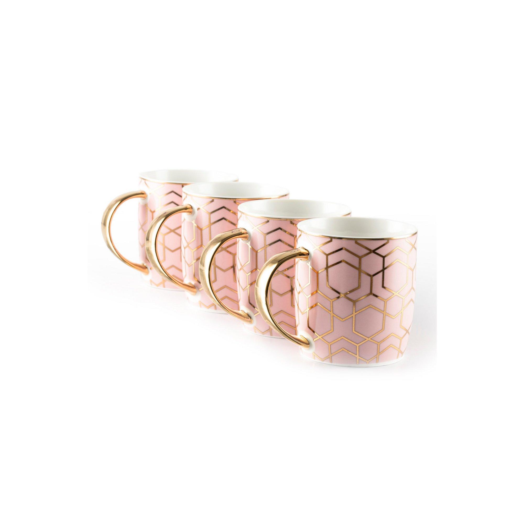 Image of 4 Piece Tallulah Pink and Gold Mug Set