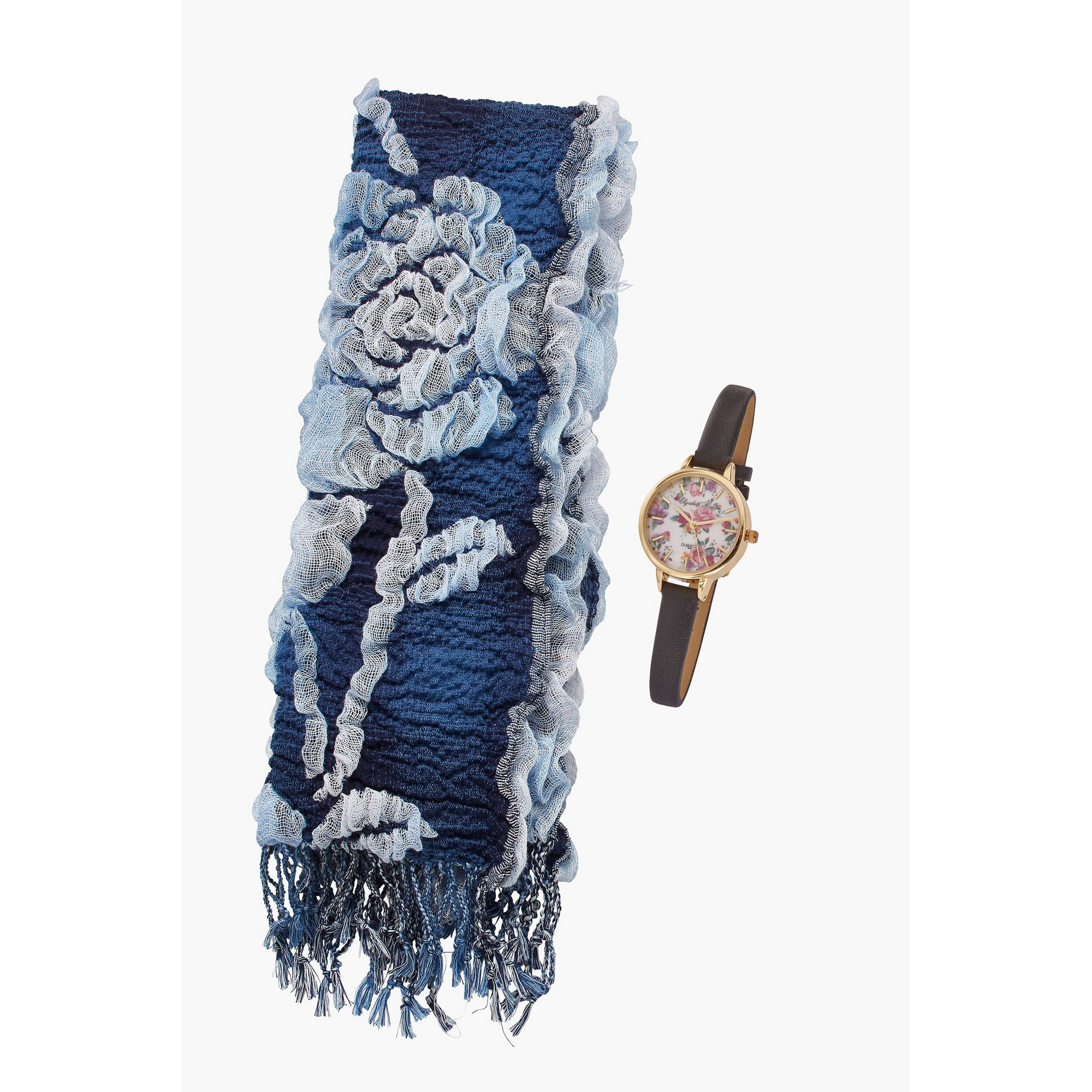 Image of Ladies Elizabeth Rose Floral Watch and Floral Scarf Gift Set