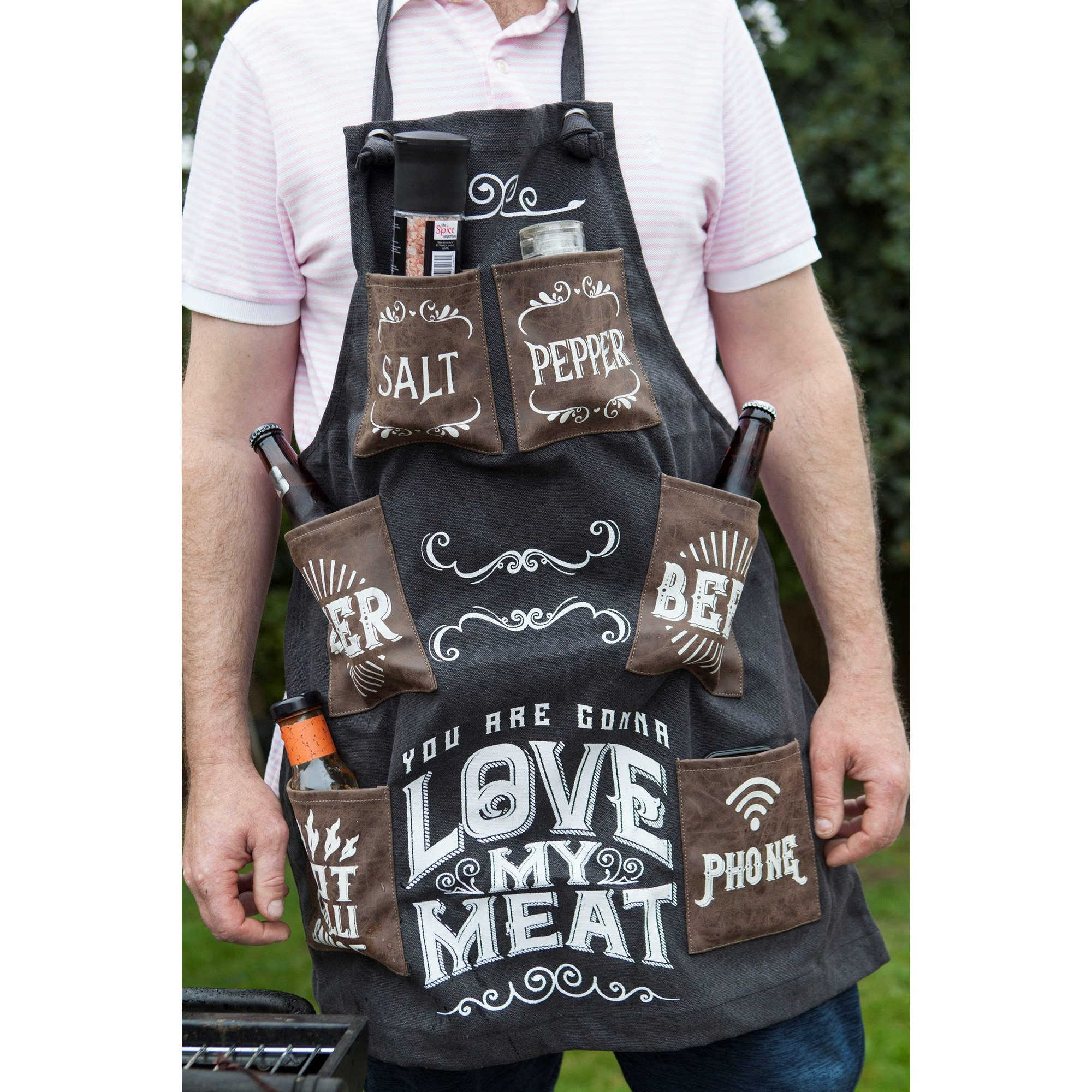 Image of Mans Canvas Apron - Love My Meat