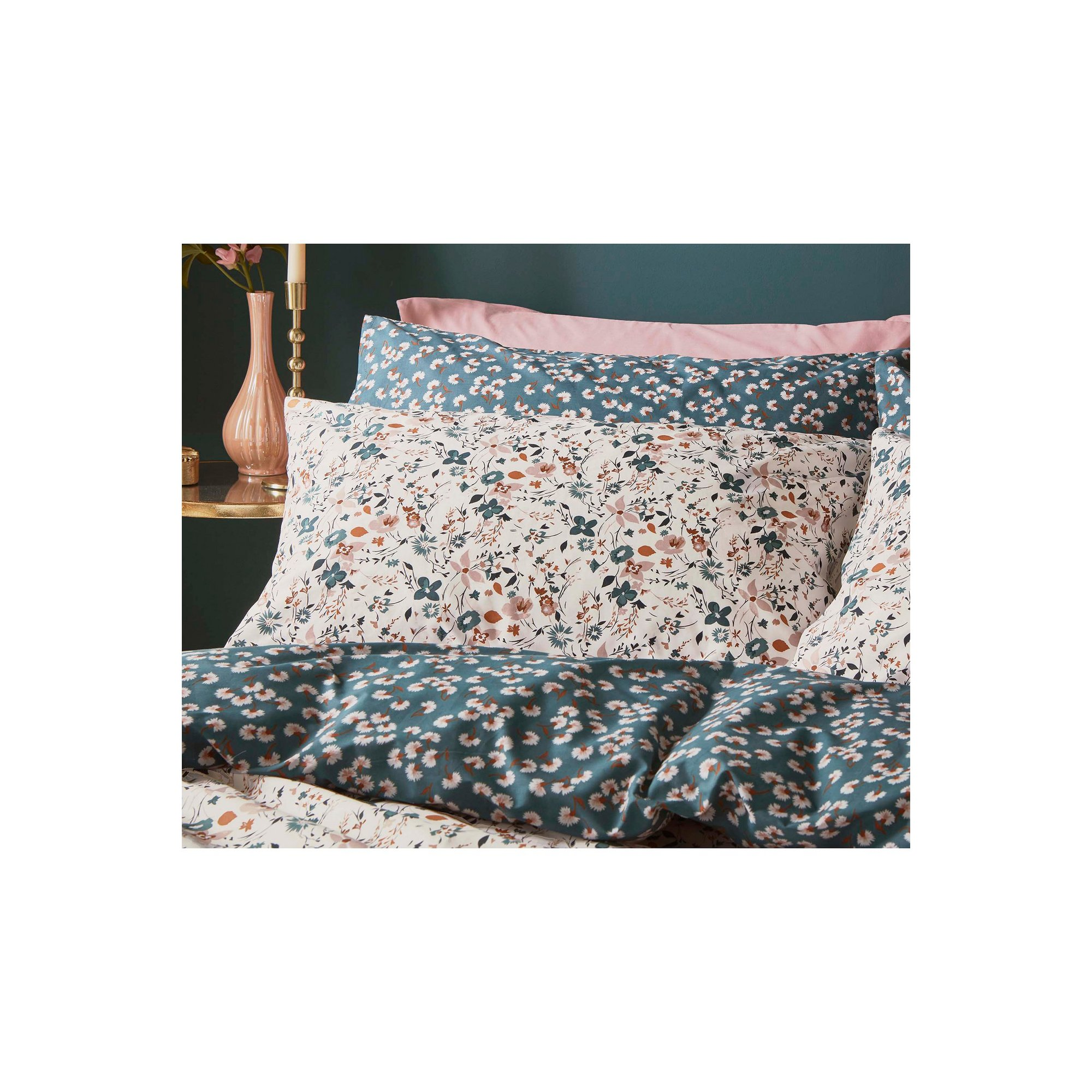 Image of Pair of Fat Face Floating Blooms Standard Pillowcases
