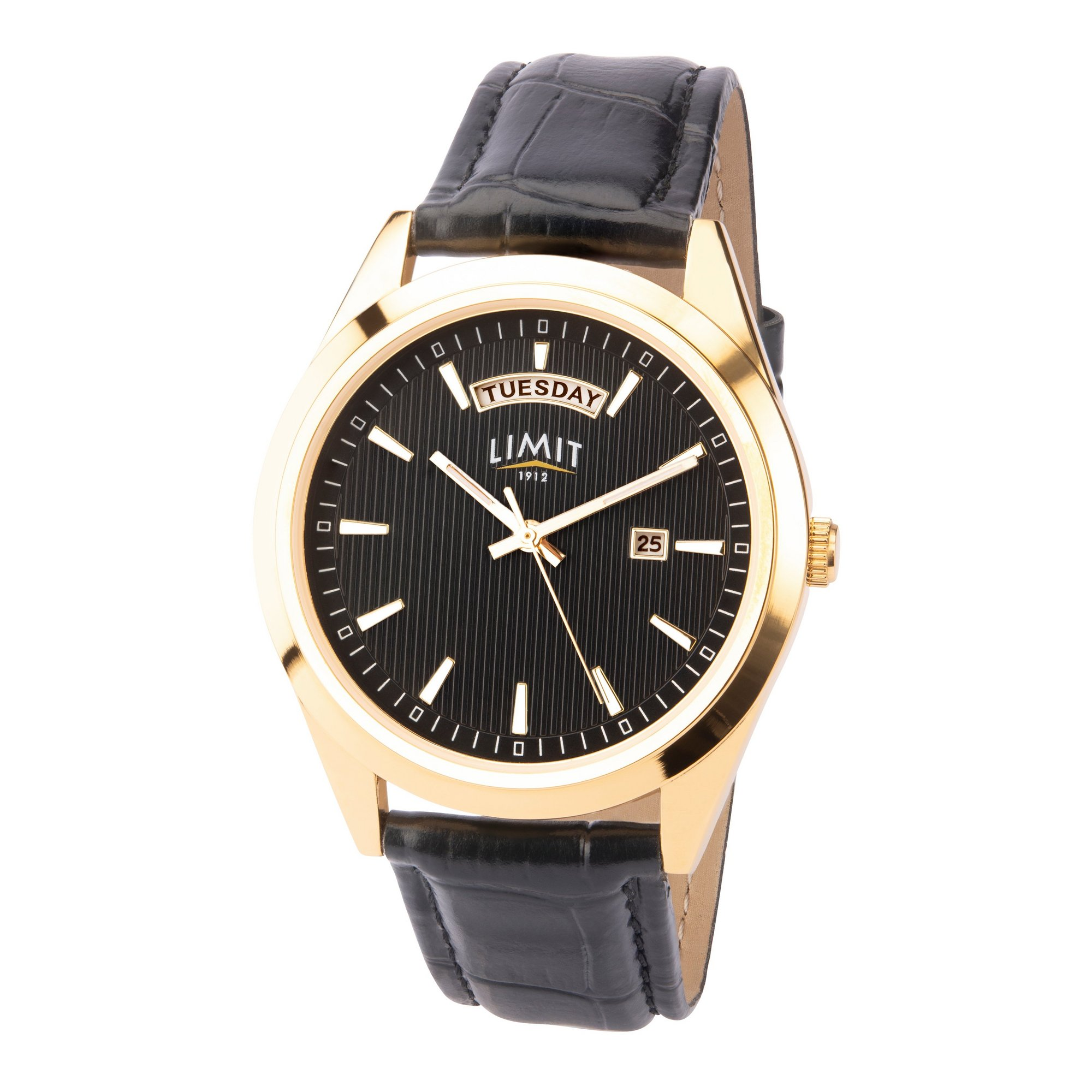 Image of Limit Mens Gold Plated Black Strap Watch
