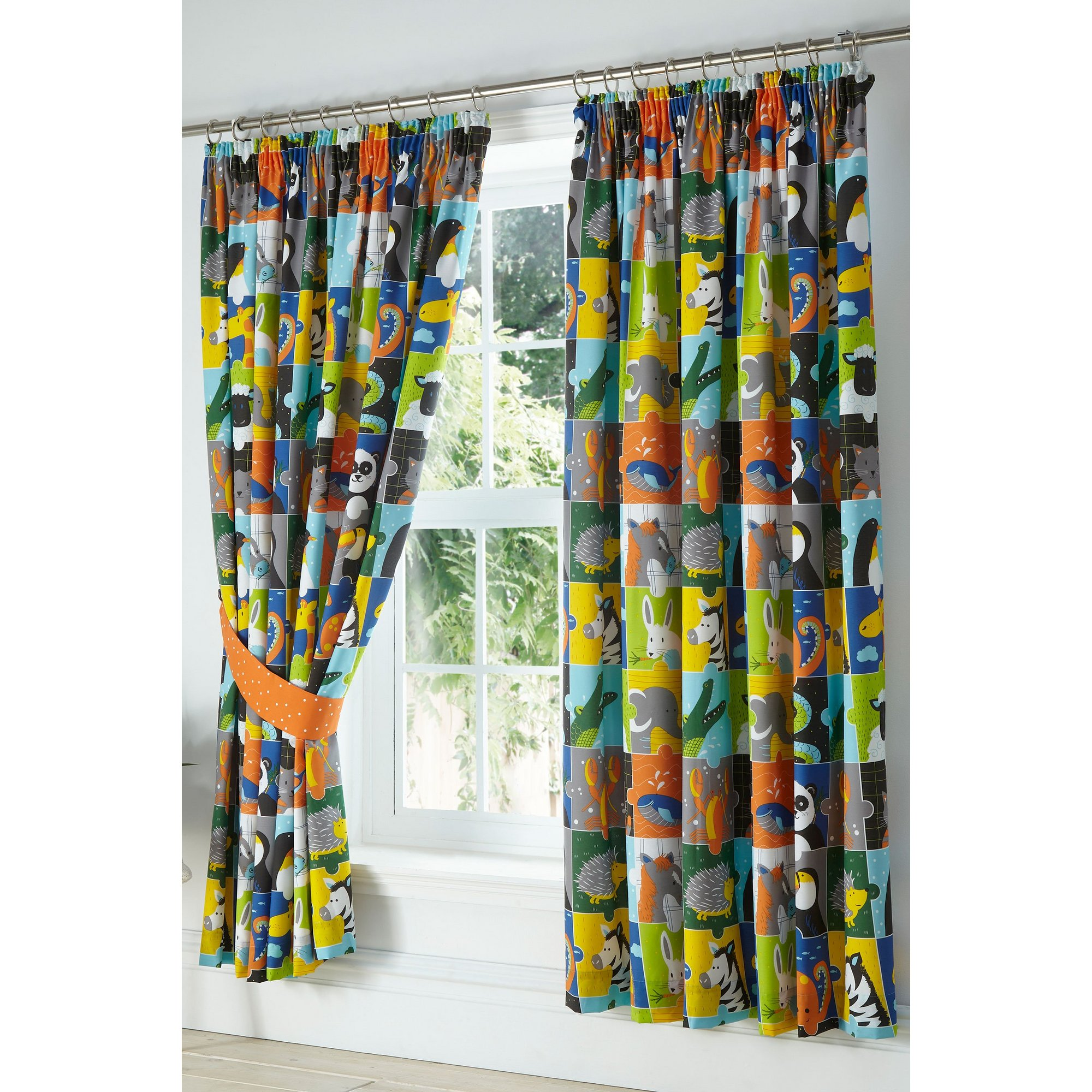 Image of Animal Jigsaw Lined Pencil Pleat Curtains