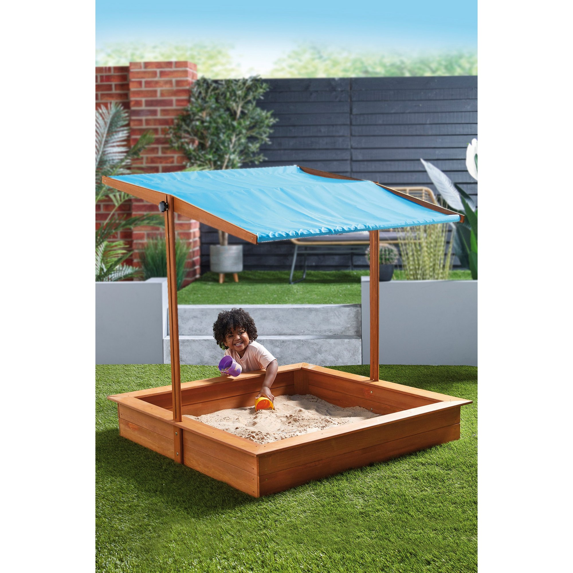 Image of Wooden Sandbox with Canopy Roof