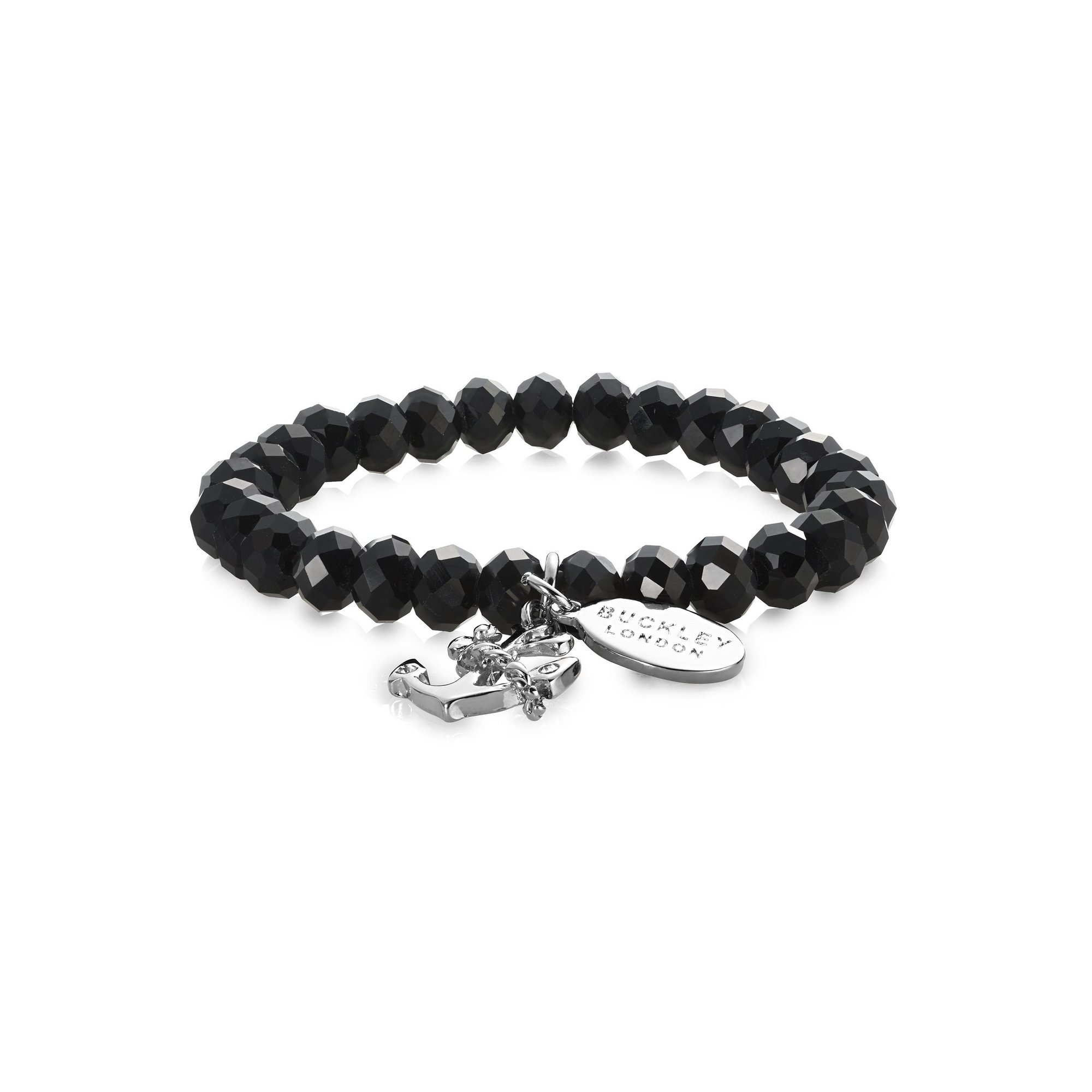 Image of Buckley London Anchor Jet Glass Bead Bracelet