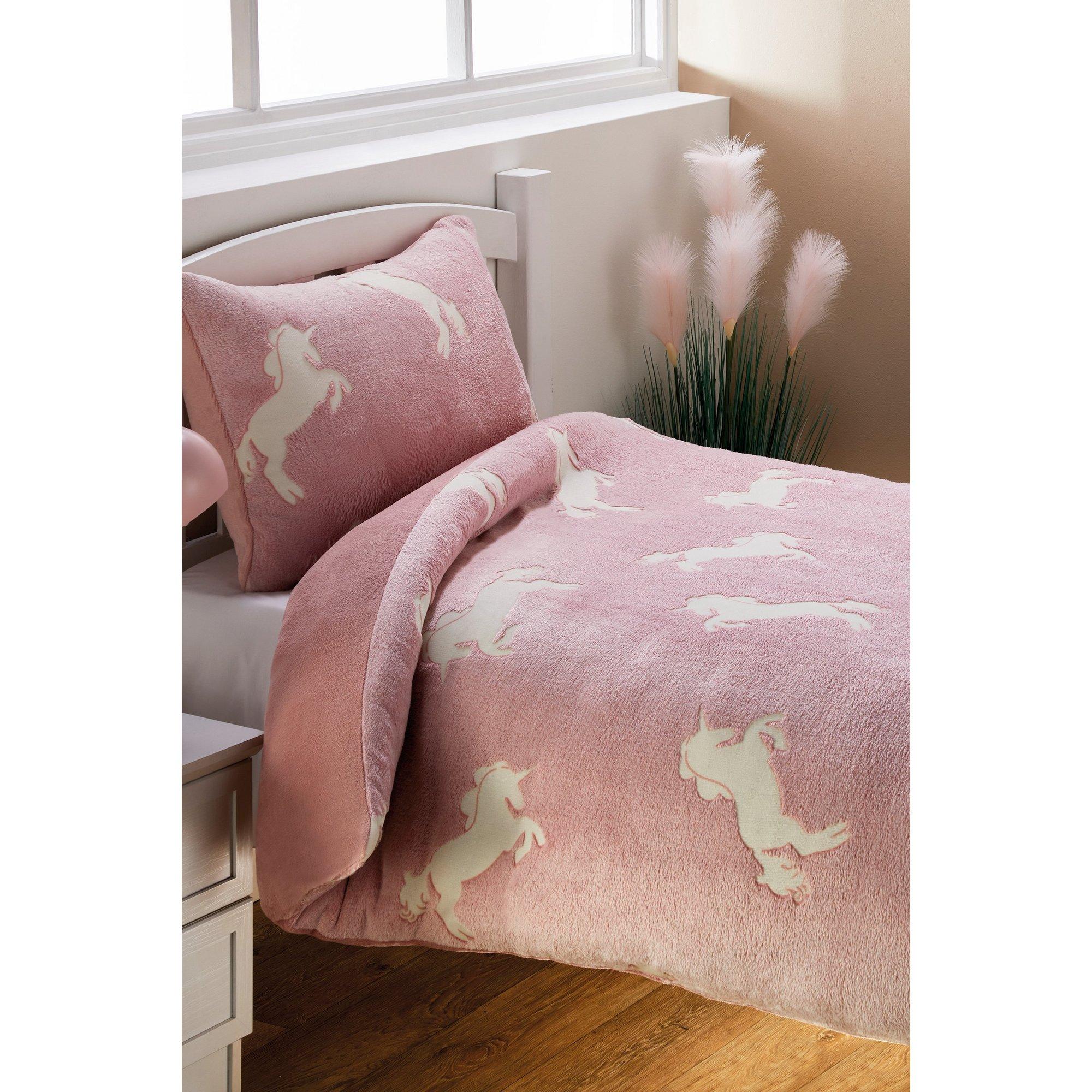 Image of Cuddle Teddy Glow In The Dark Unicorn Duvet Set