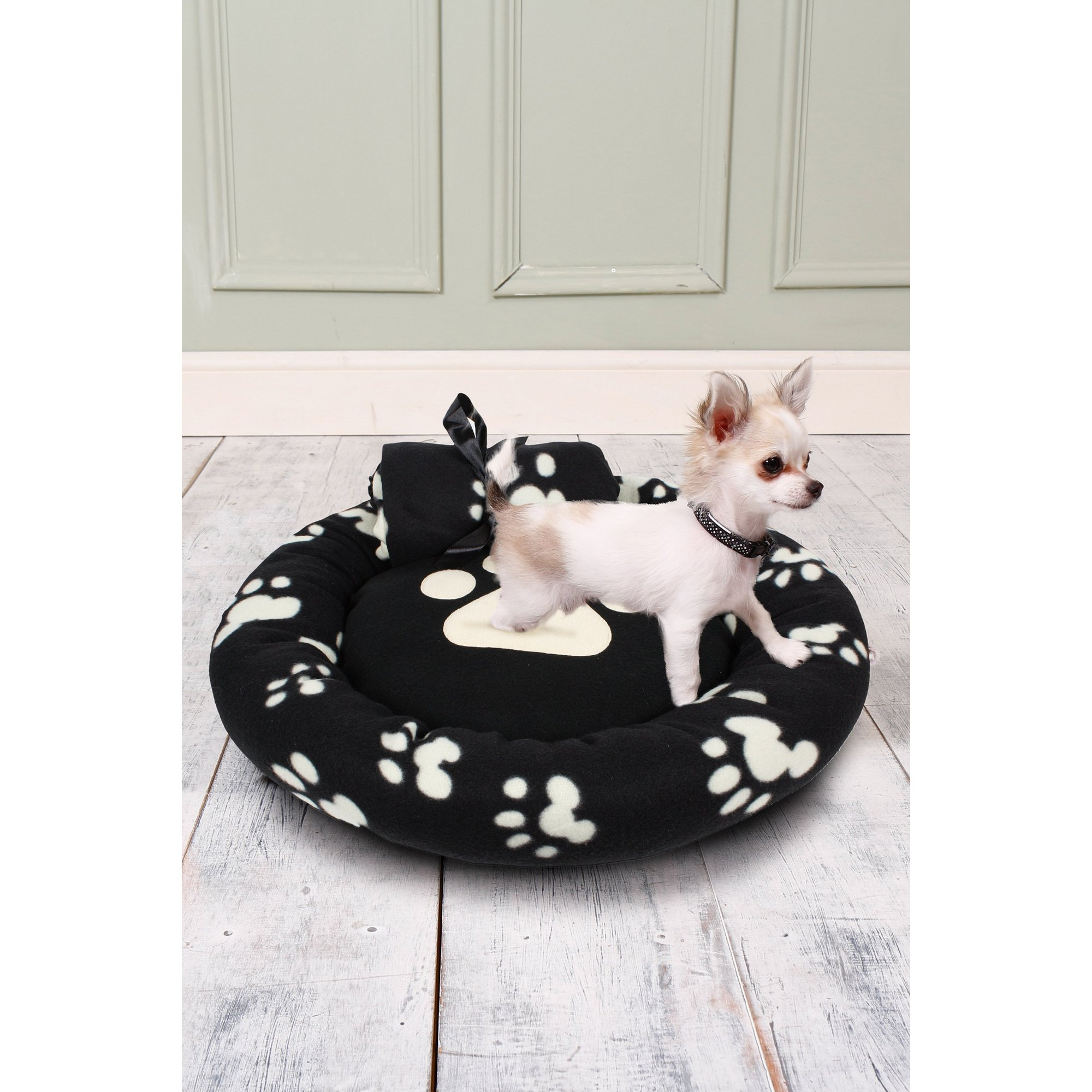 Image of Black Pawprint Fleece Pet Bed and Blanket Set