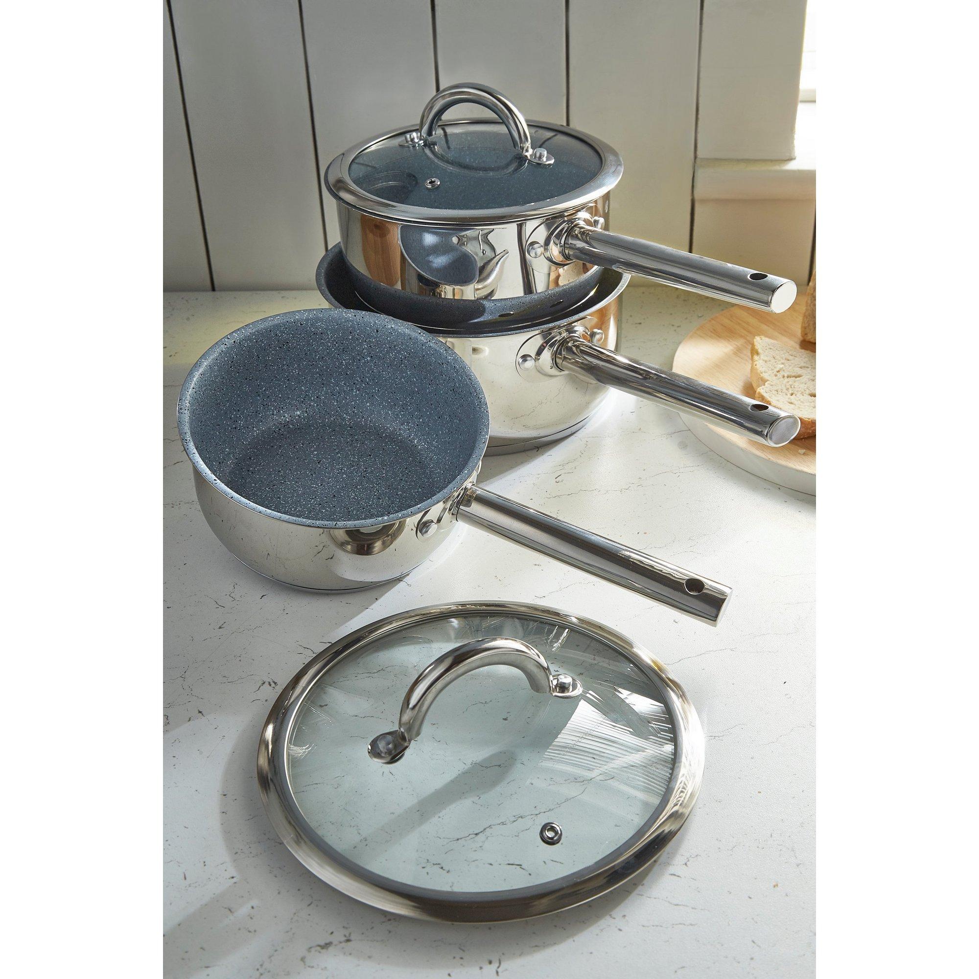 Image of Durastone 3-Piece Non-Stick Stainless Steel Saucepan Set