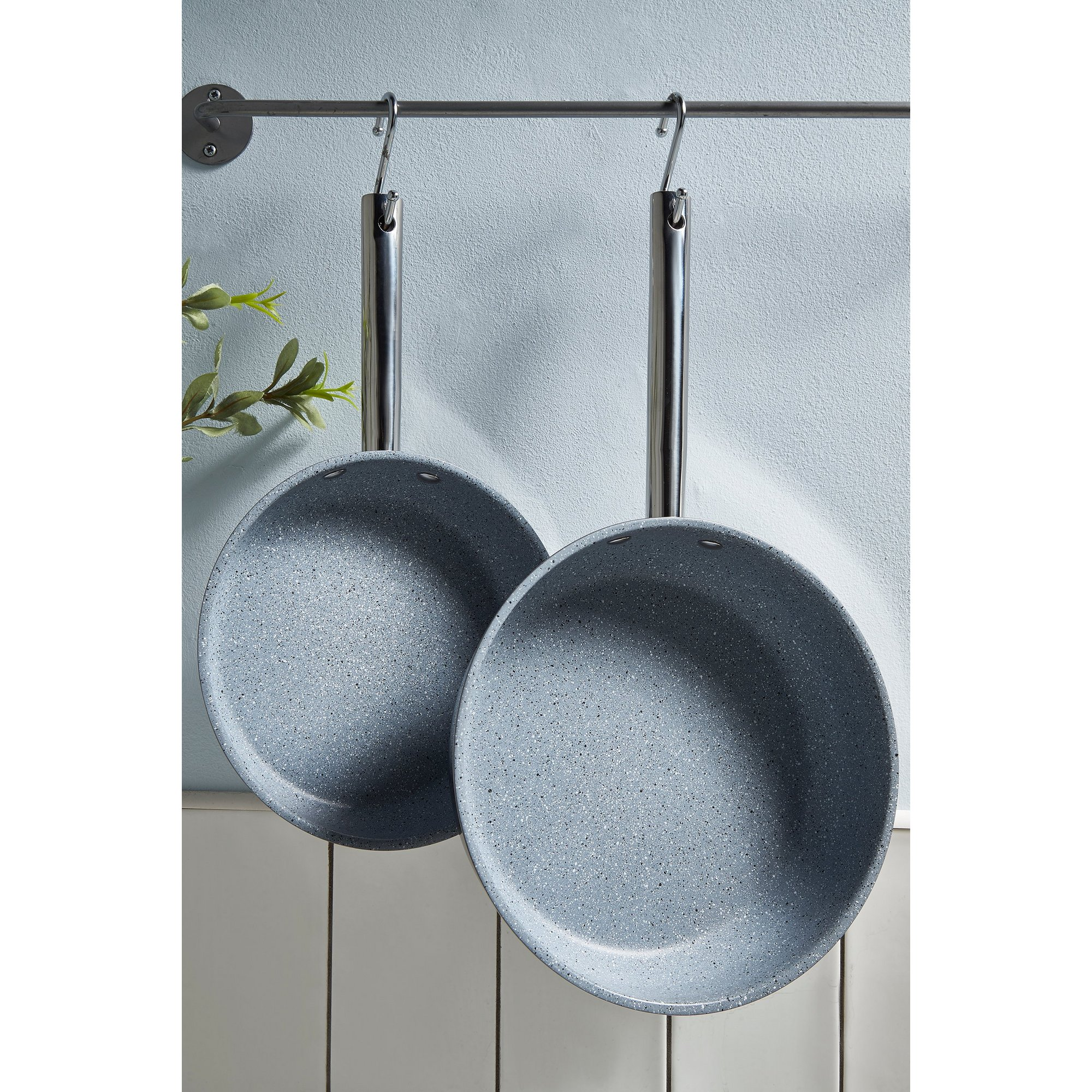 Image of Durastone Set of 2 Non-Stick Stainless Steel Frying Pans