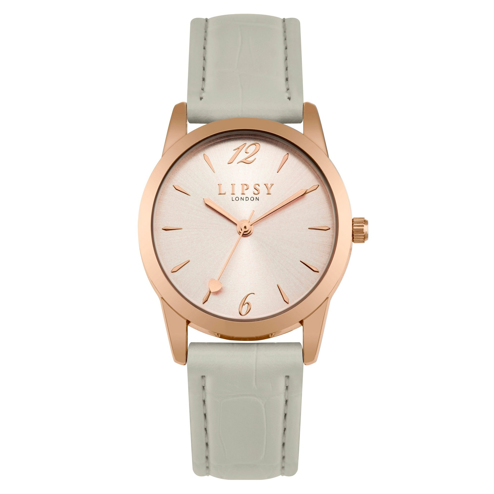 Image of Lipsy Grey Strap Watch with Rose Gold Sunray Dial