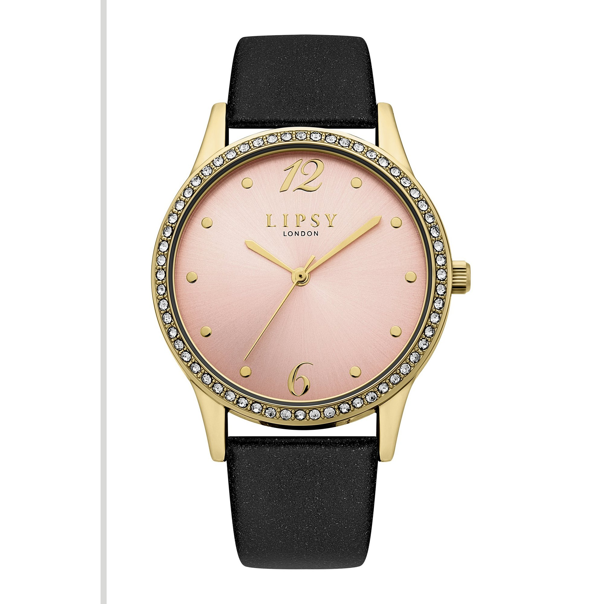 Image of Lipsy Black Strap Watch with Pale Pink Dial