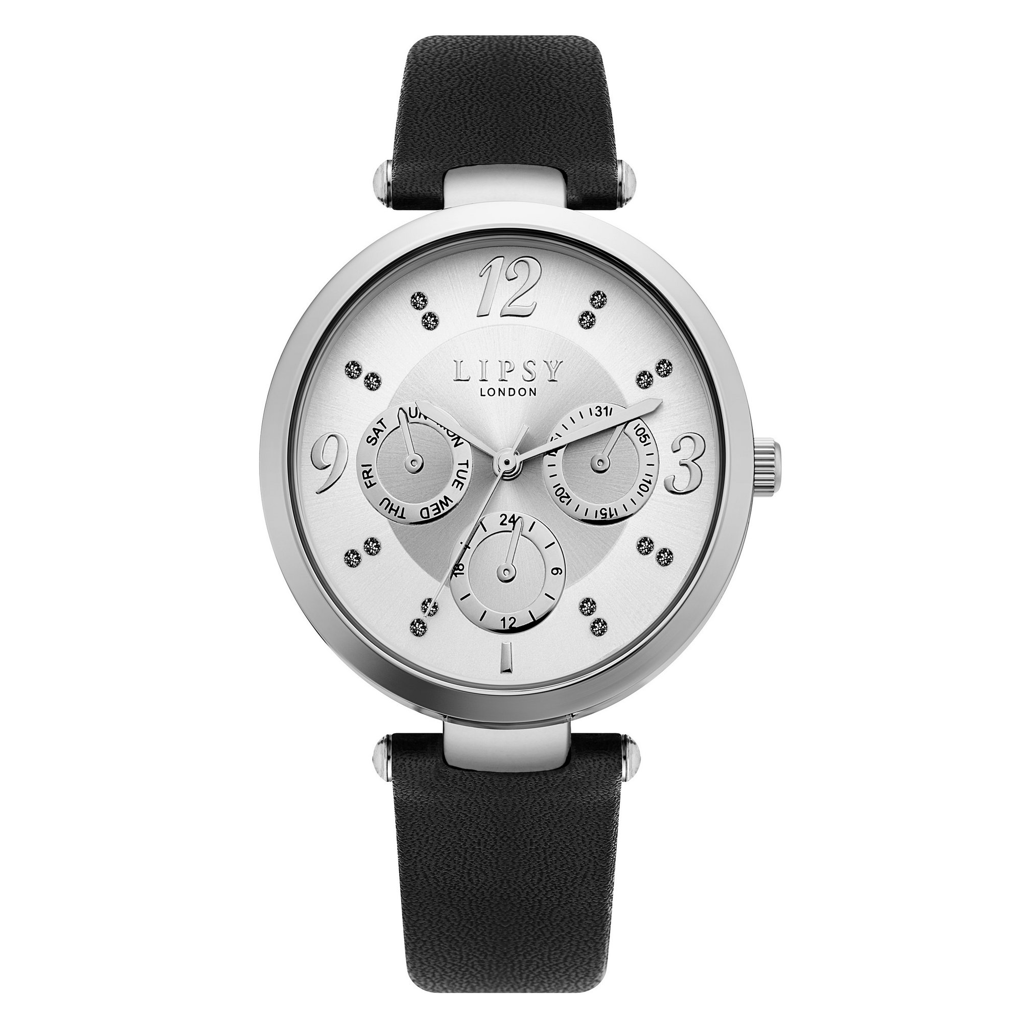 Image of Lipsy Black Strap Watch with Silver Mock Multi Dial