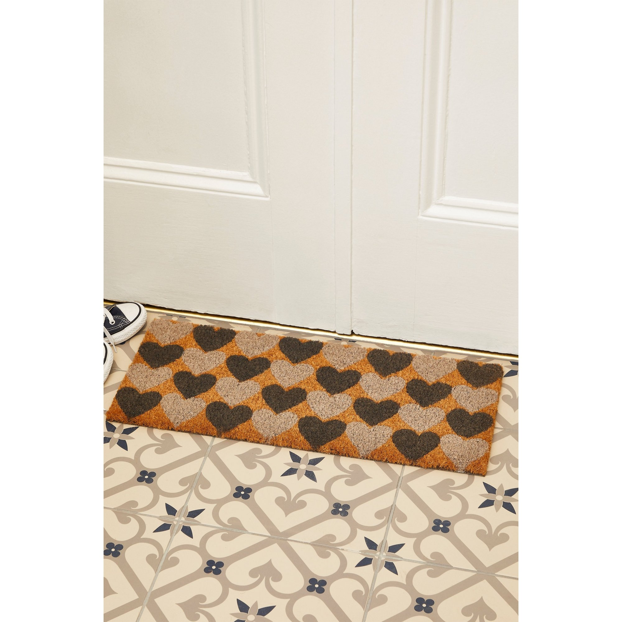 Image of Astley Charcoal Hearts Printed Step Mat