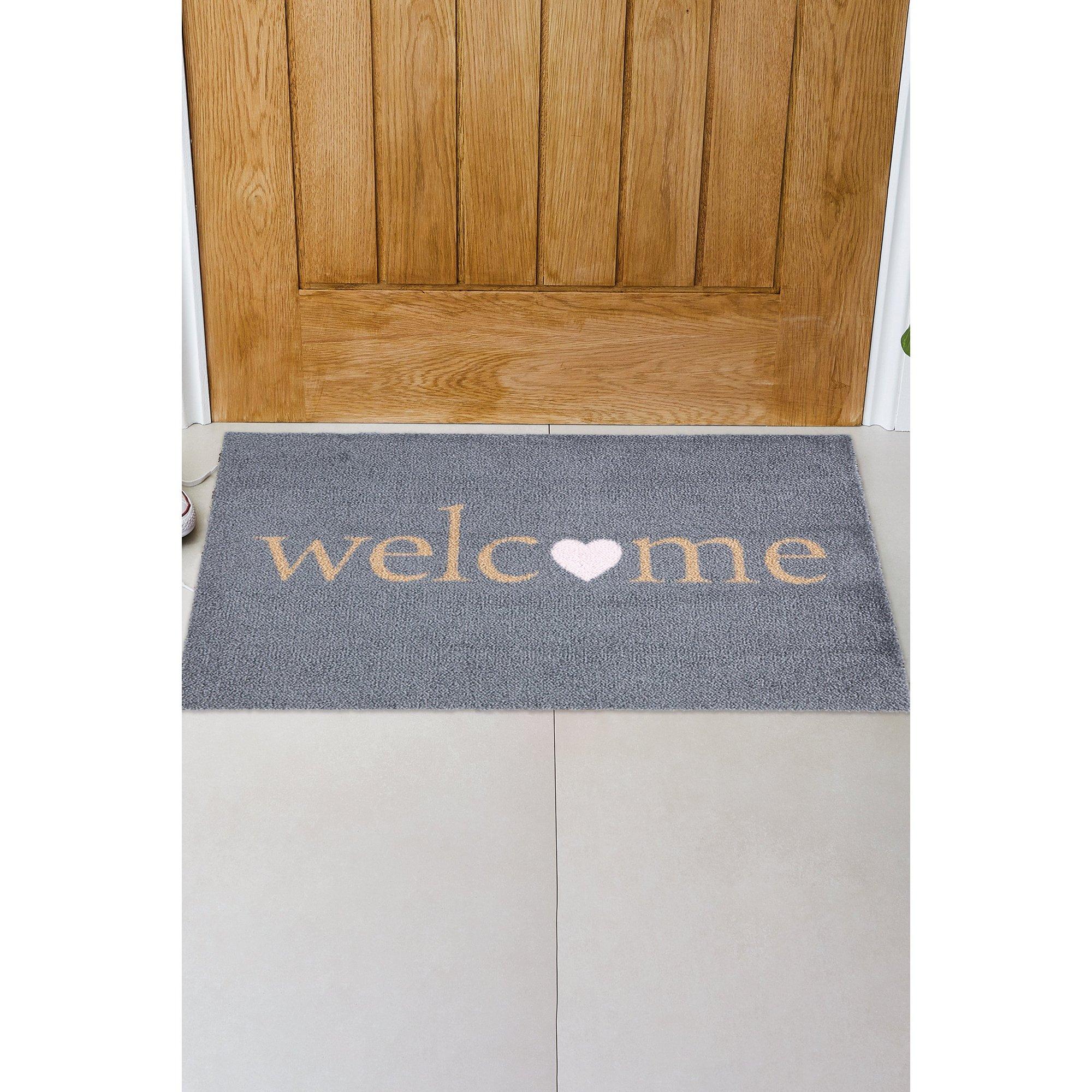 Image of Chorlton Welcome Pink Heart Washable Mat