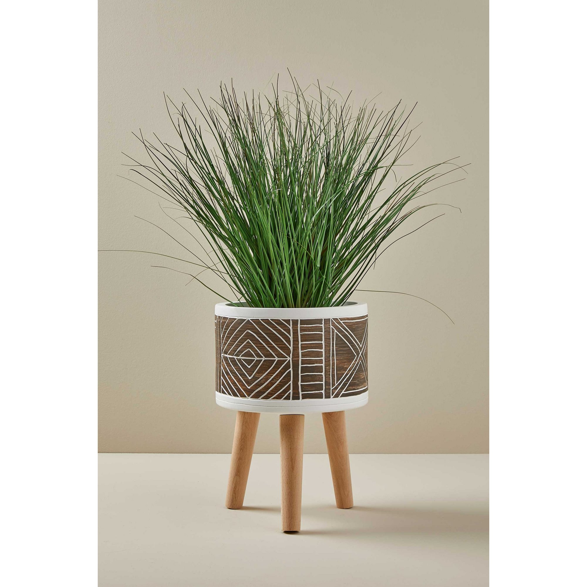 Image of Aztec Natural Hand Painted Wood Leg Planter