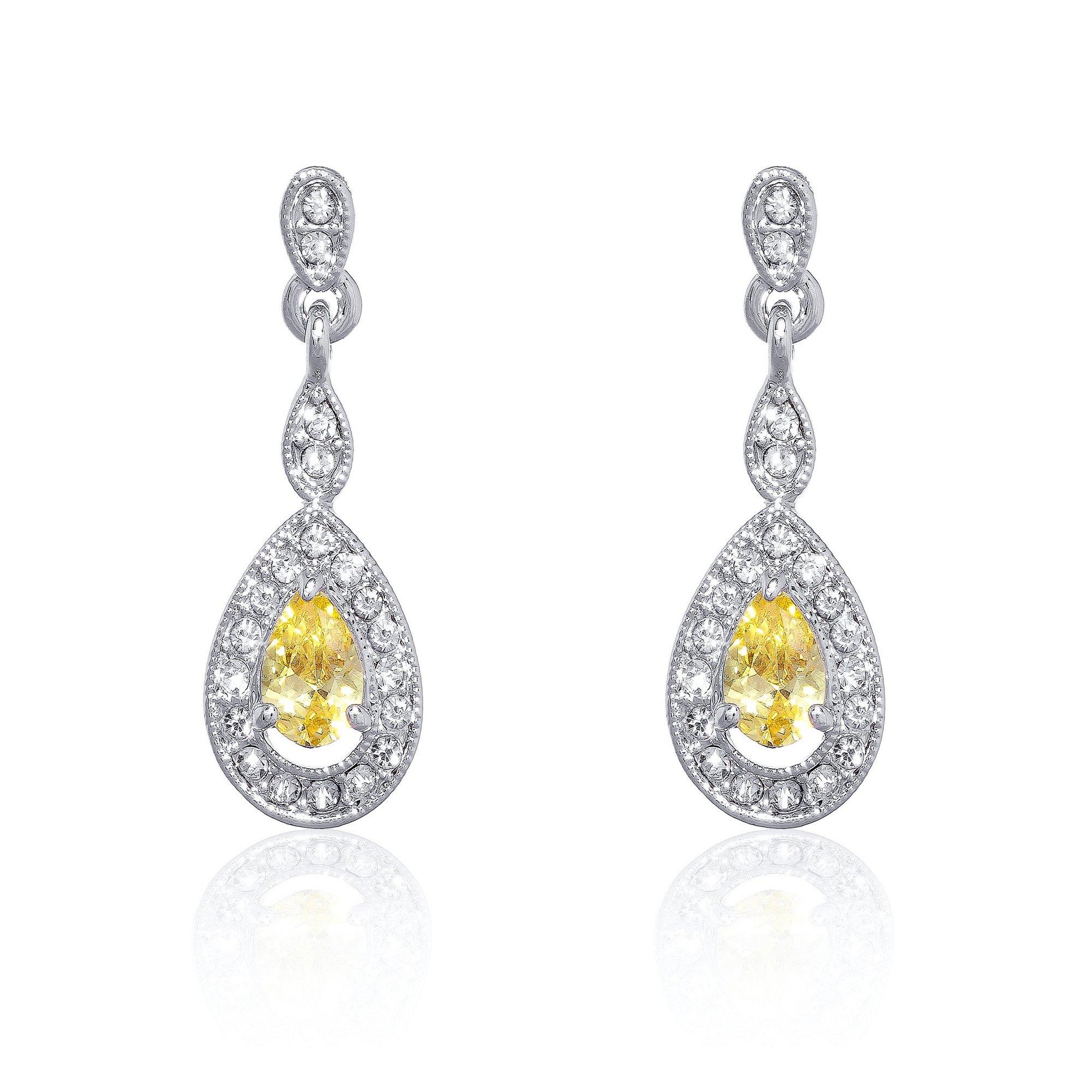 Image of Espree Elite Crystal and Citrine Drop Earrings