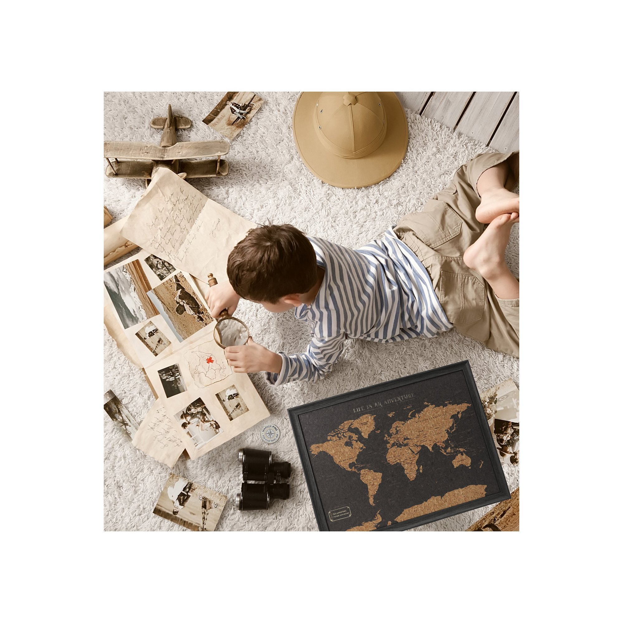 Image of Brown Travel Cork Board World Map