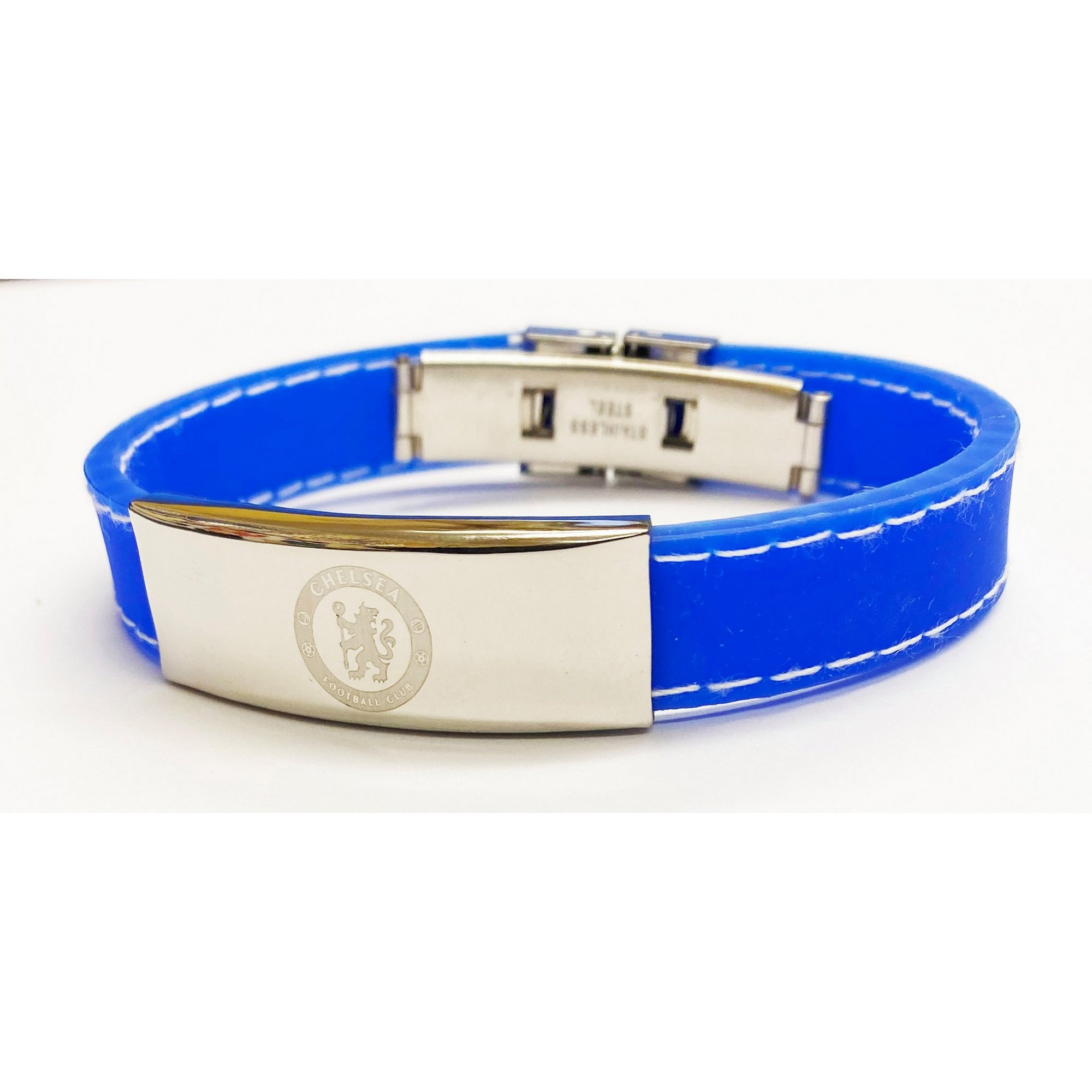 Image of Chelsea FC Stainless Steel and Rubber Stitched Design Crest Bracelet