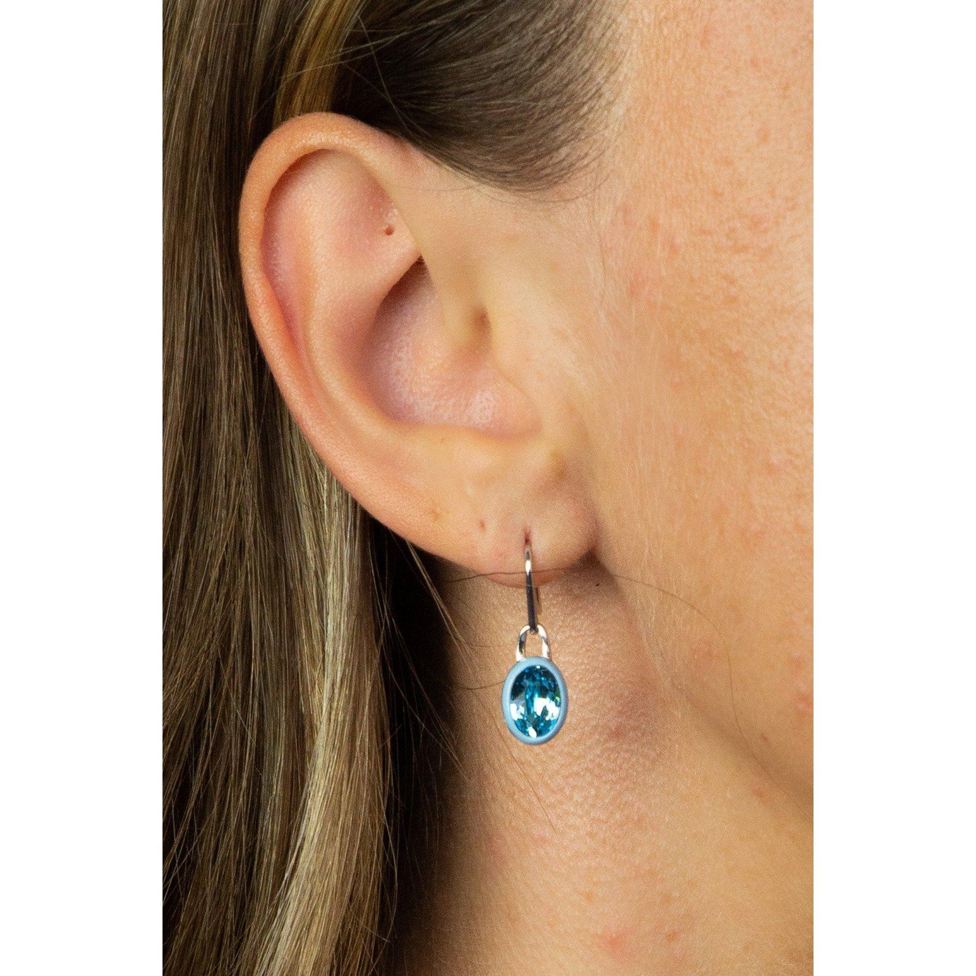 Image of Fiorelli Aqua Crystal Earrings with Blue Enamel Border