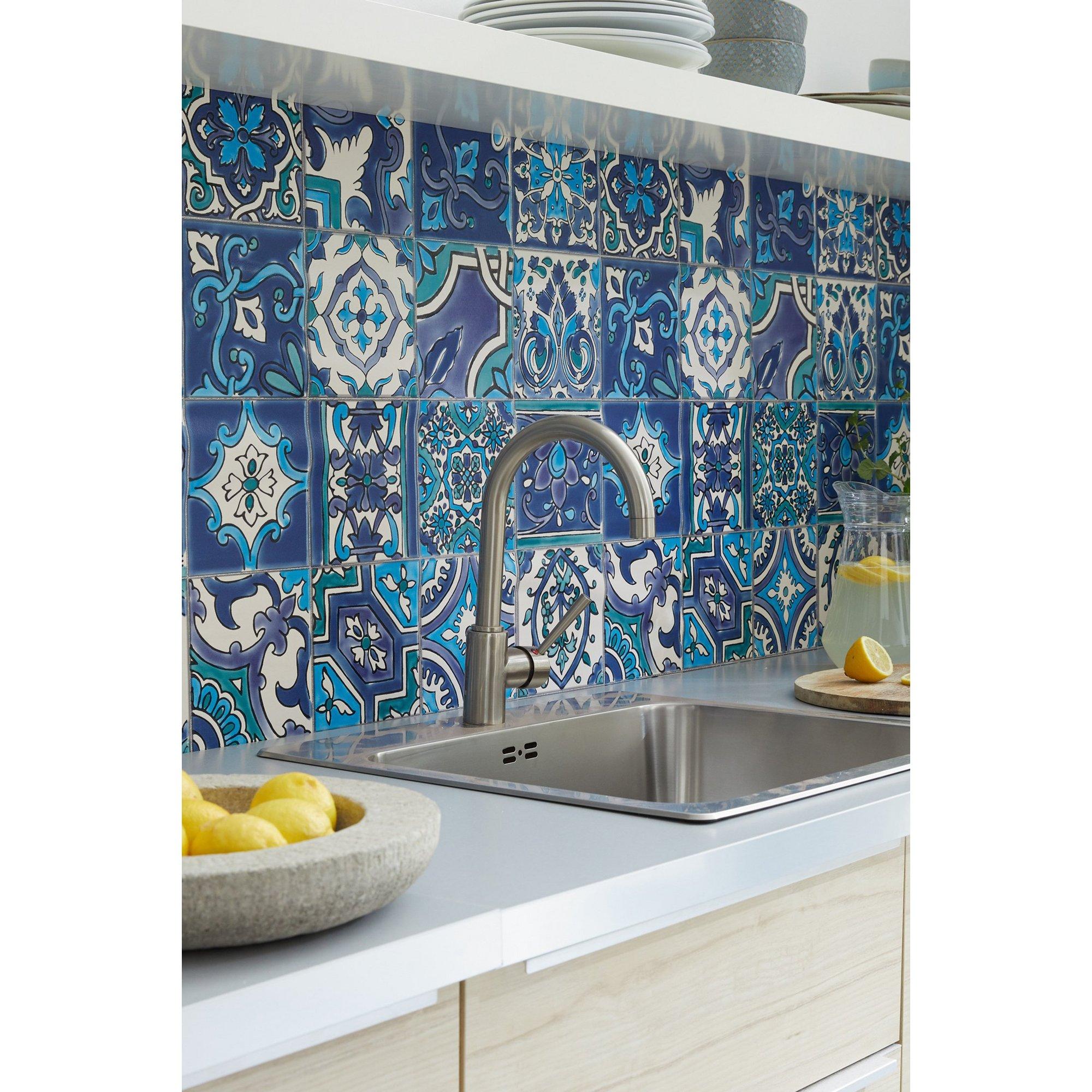 Image of D-C-Fix 3D Wallpaper for Splashbacks Moroccan Tile Russian Blue