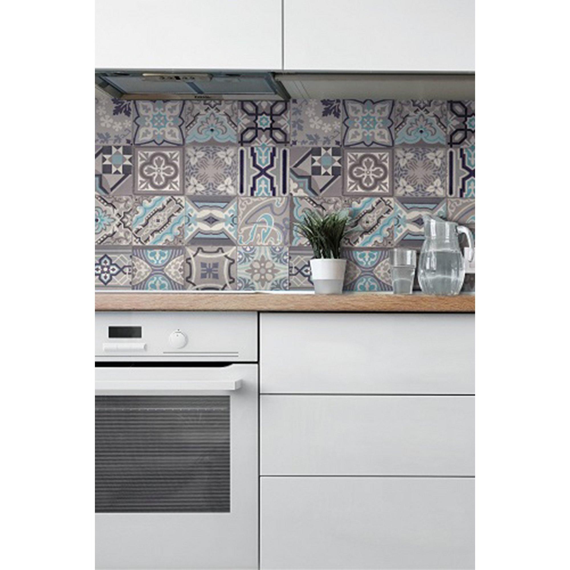Image of D-C-Fix 3D Wallpaper for Splashbacks Moroccan Tile Simenta Grey