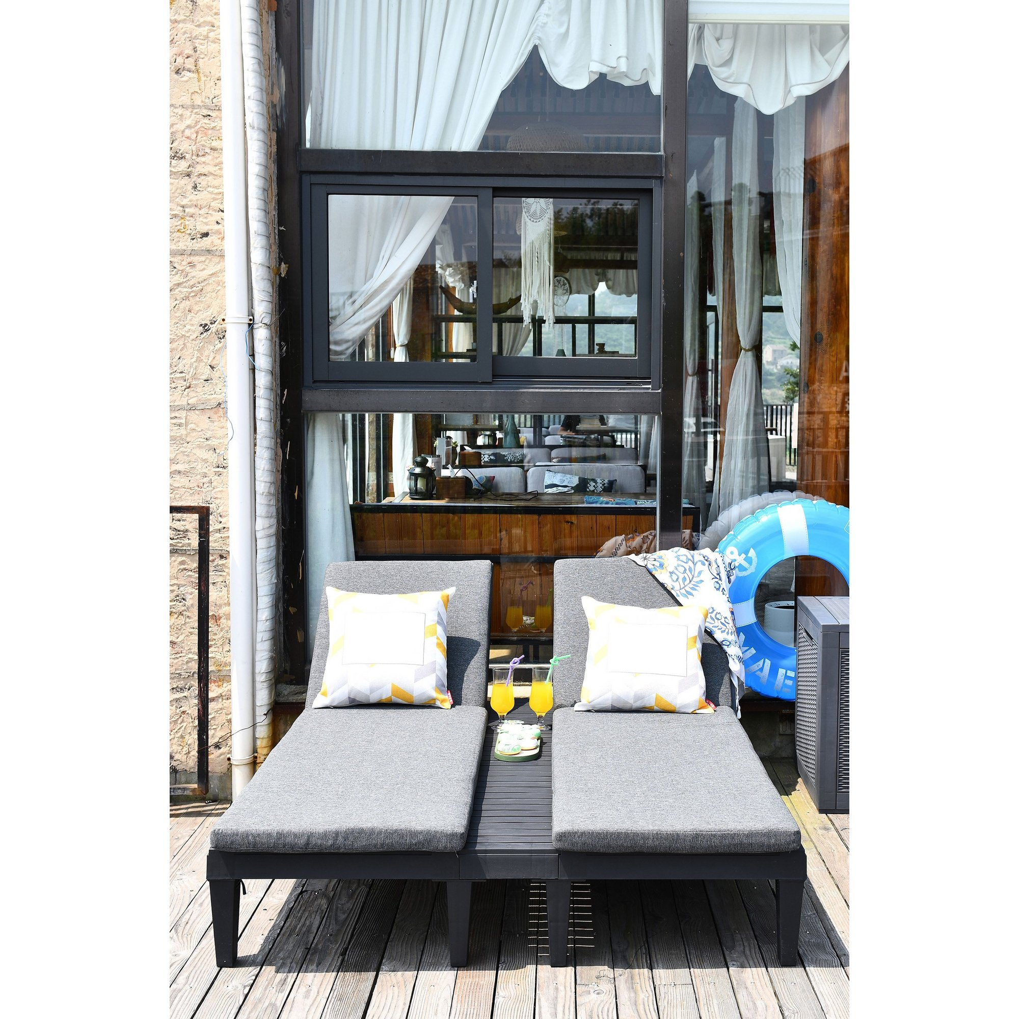Image of Faro Double Sunlounger with Cushion