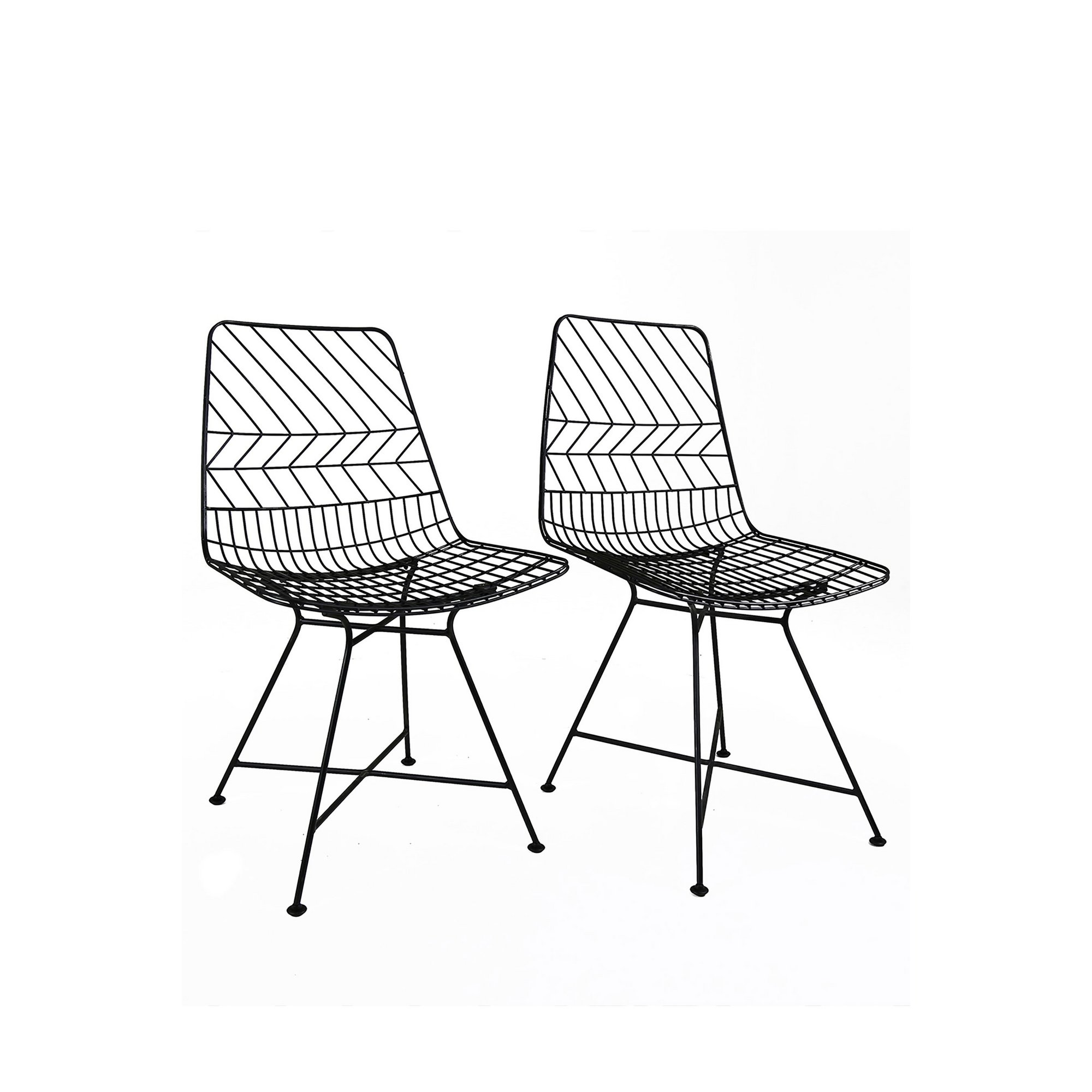 Image of Charles Bentley Pair of Metal Outdoor Chairs Black