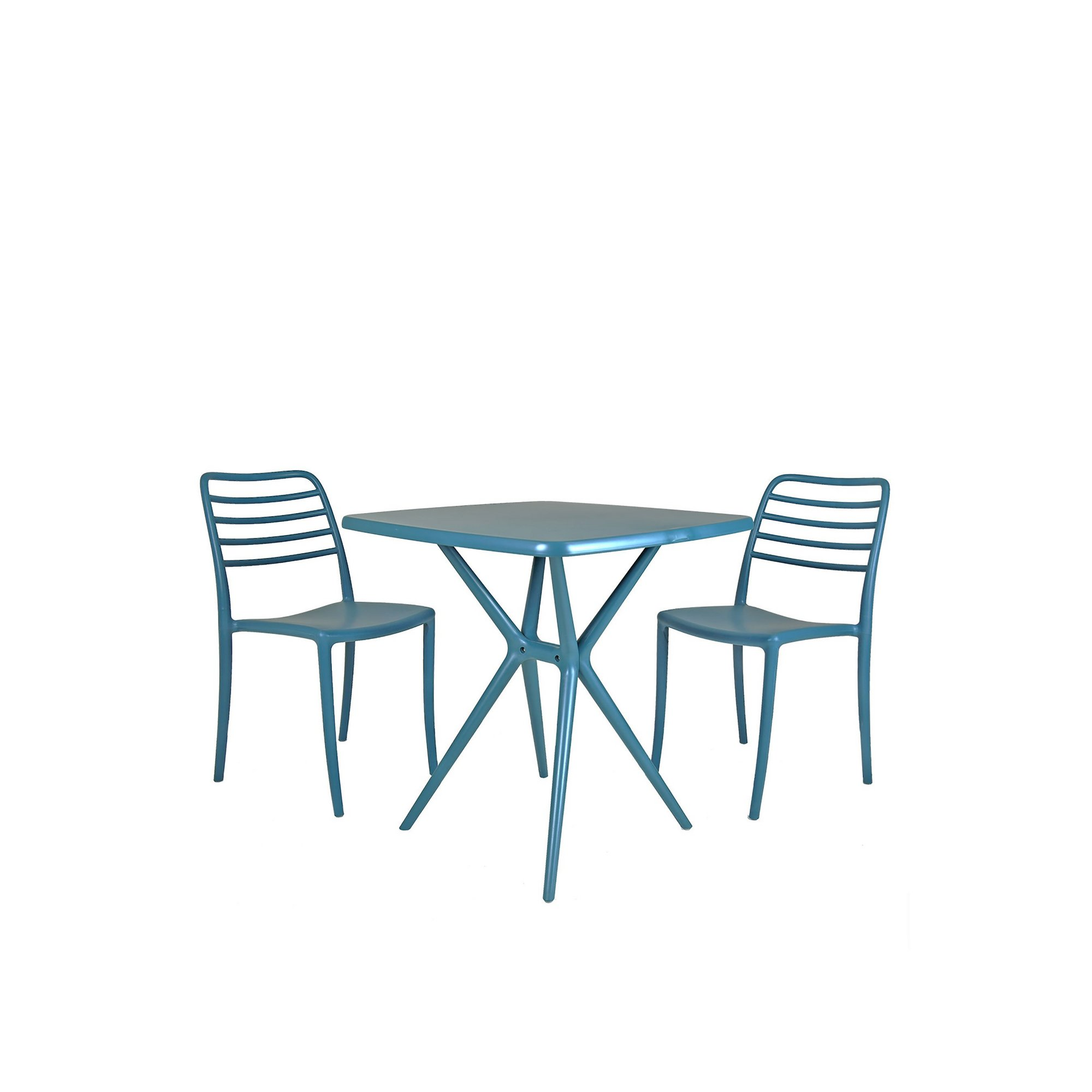 Image of Charles Bentley 2 Seater Plastic Bistro Set Blue