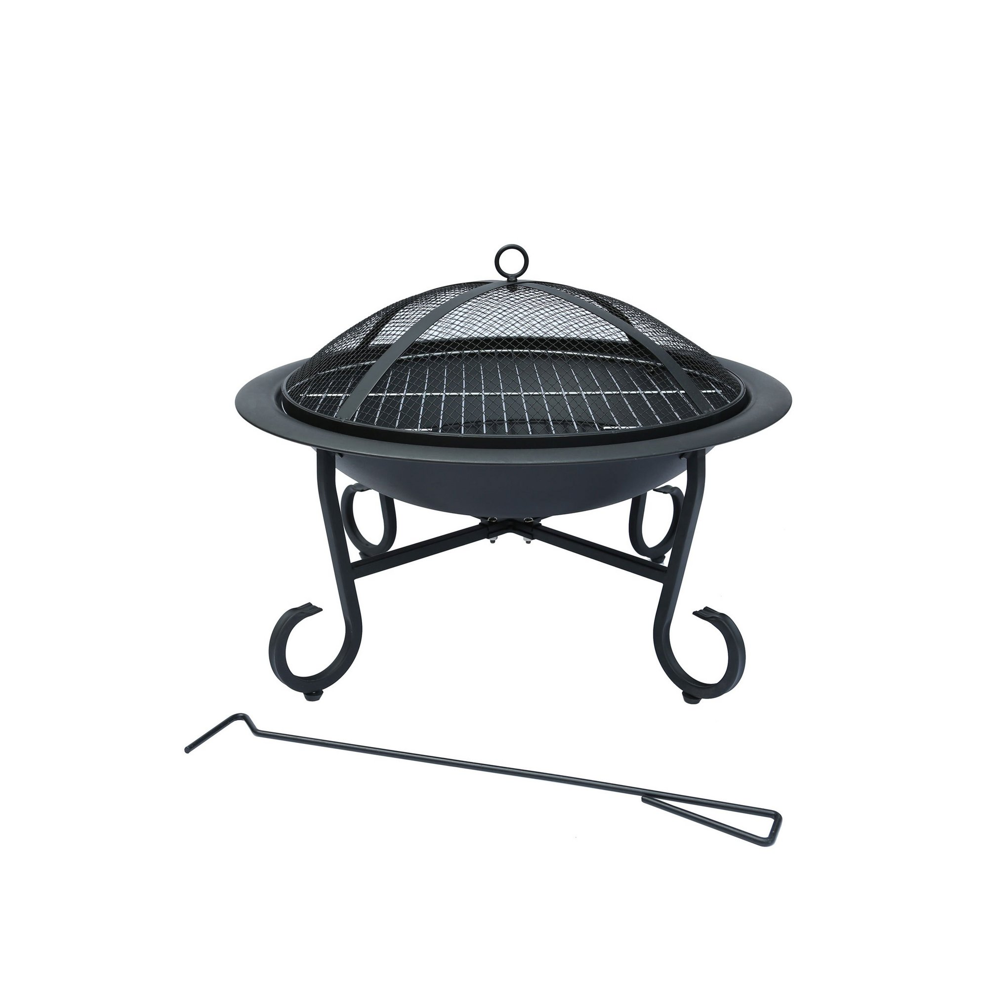 Image of Charles Bentley Large Round Metal Fire Pit With Mesh Cover