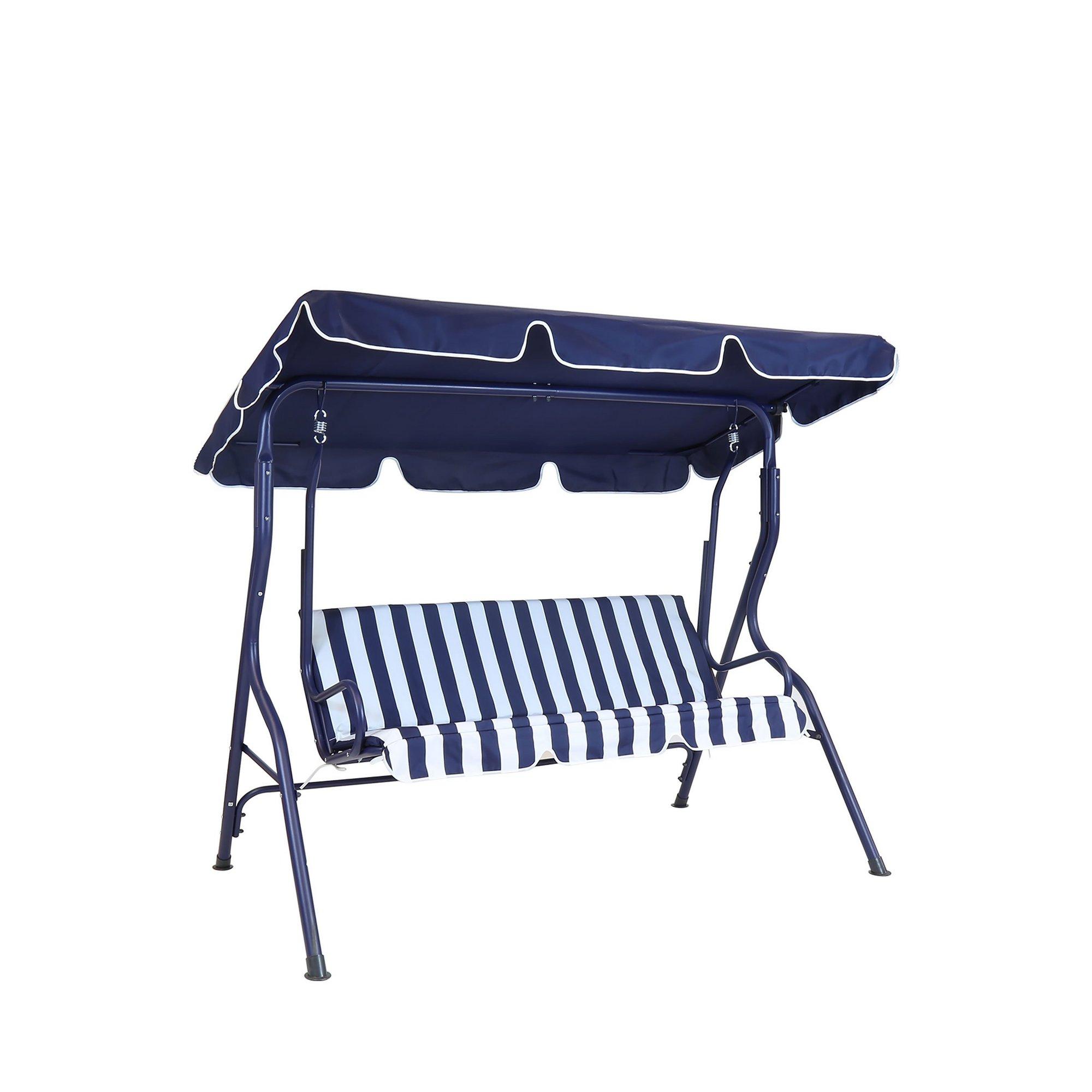 Image of Charles Bentley 2 Seater Garden Swing Seat Hammock Blue Stripe