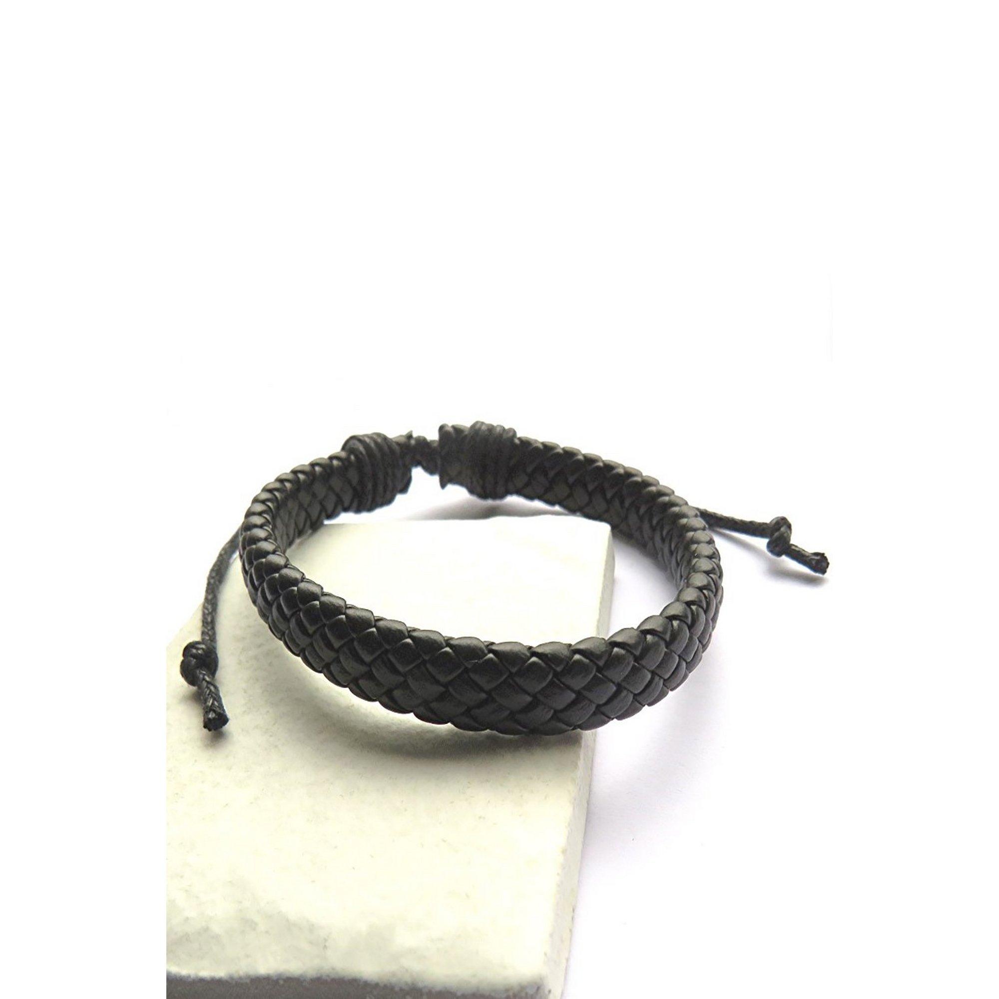 Image of Black Leather Weave Bracelet