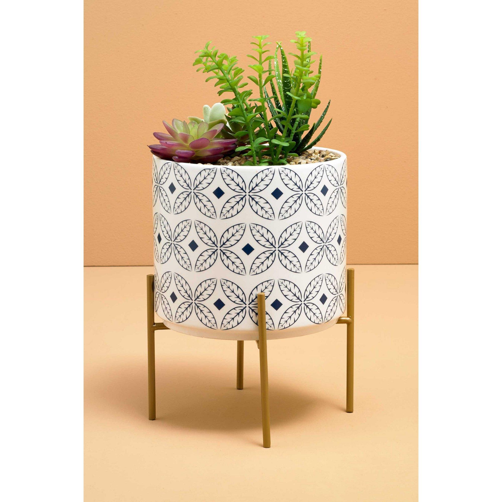 Image of Blue Diamond Ceramic Planter with Stand