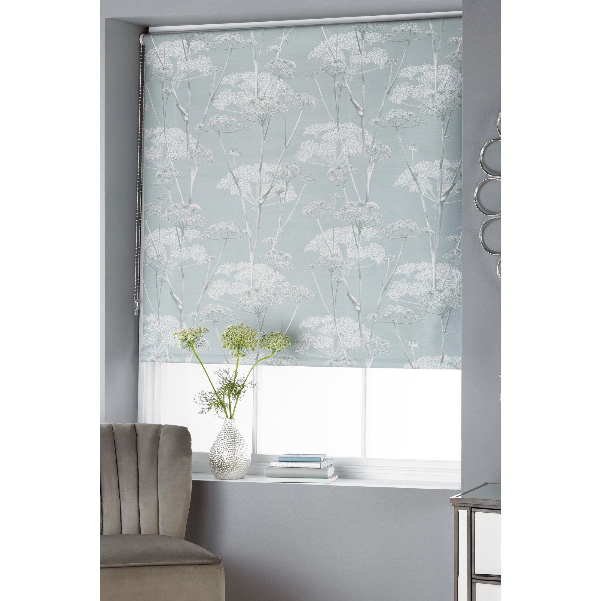 Image of Cow Parsley Printed Duck Egg Blackout Blind