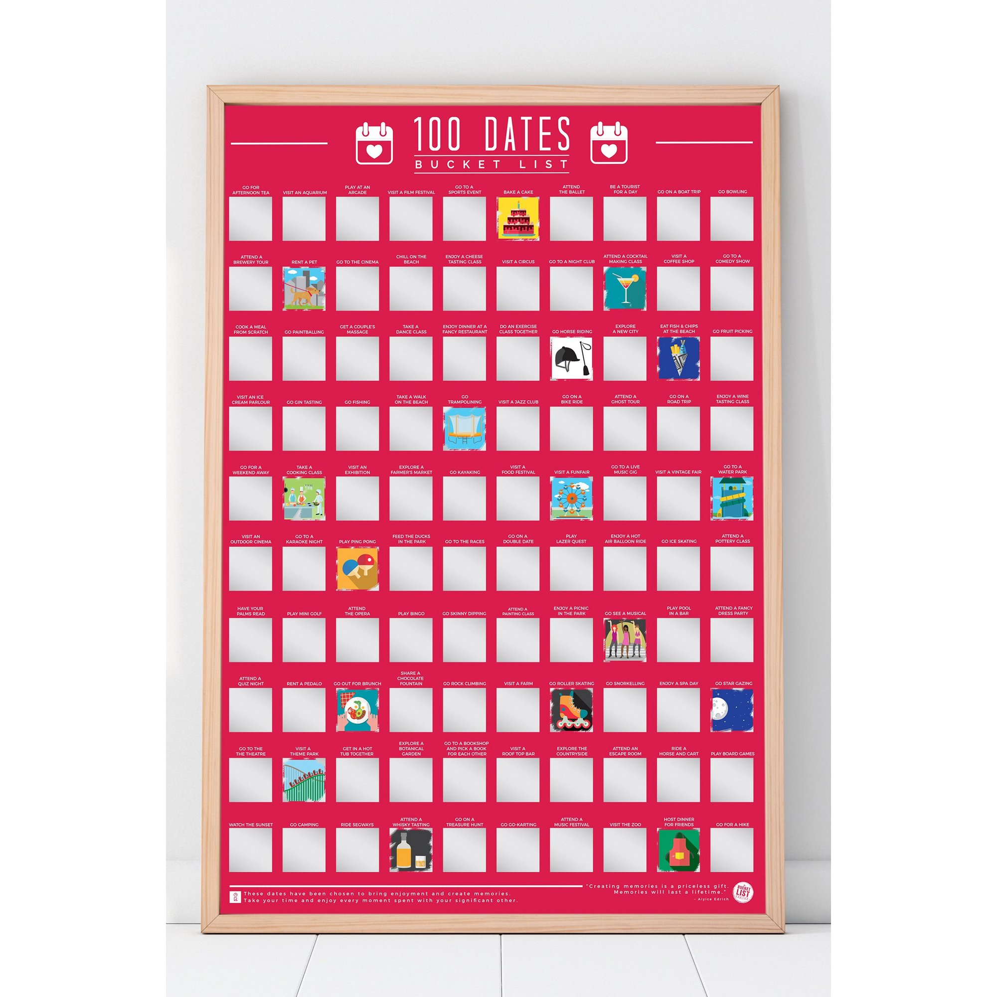 Image of 100 Dates To Go On Bucket List Poster