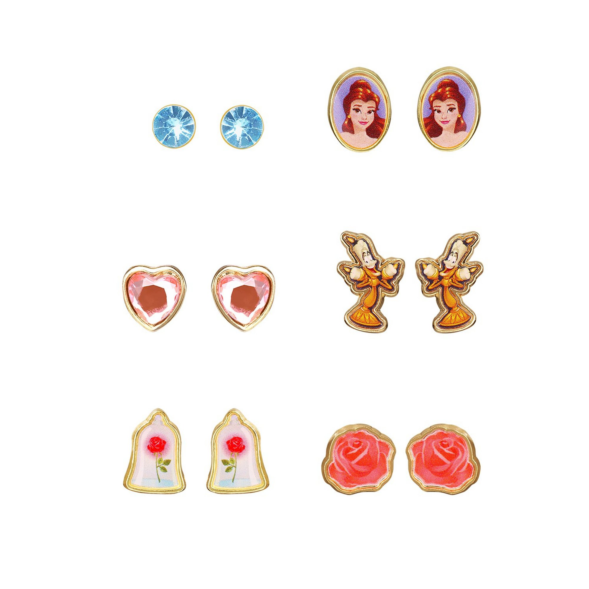 Image of Disney Beauty and The Beast 6-Piece Earring Set