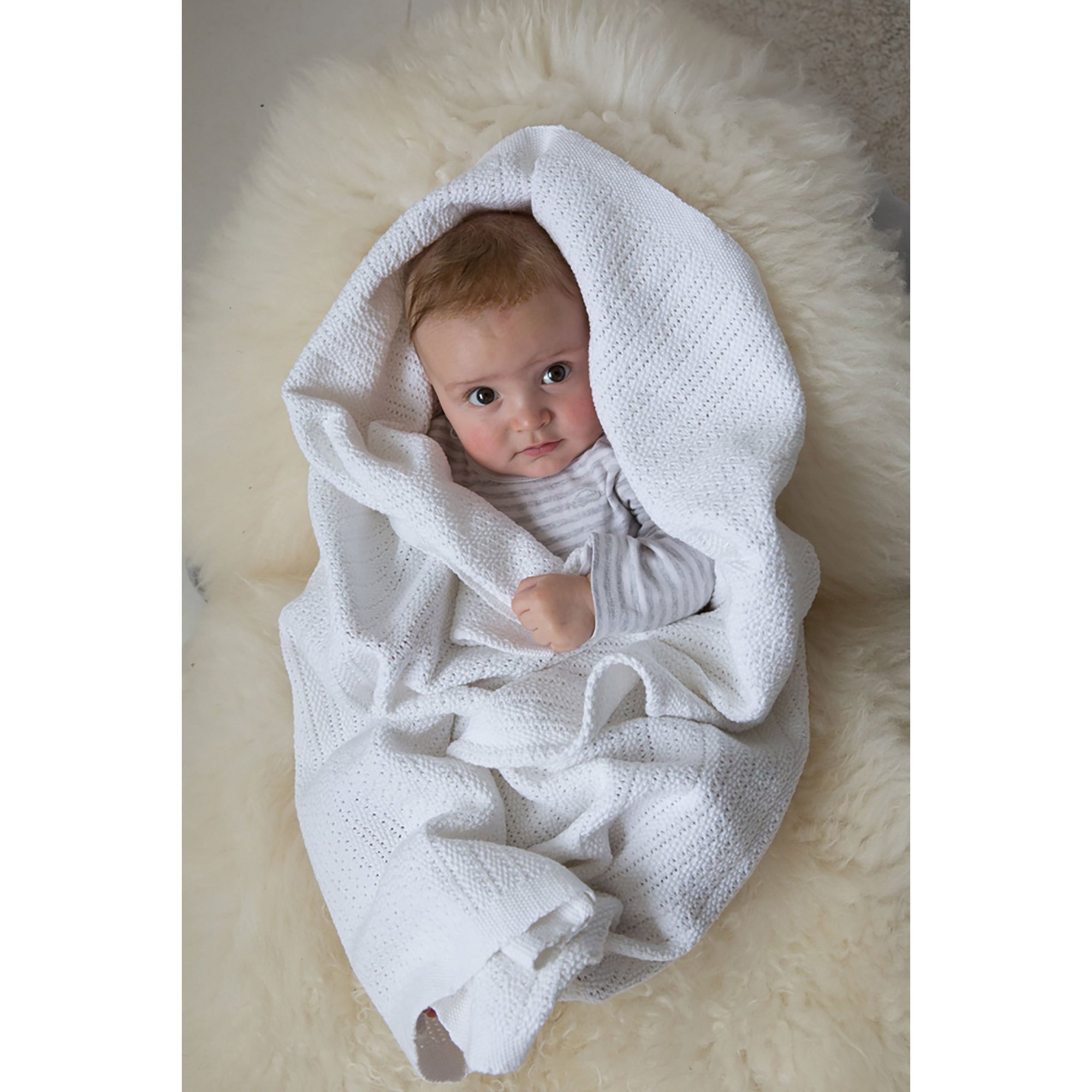 Image of Hippychick Cellular Baby Blanket - Pure White