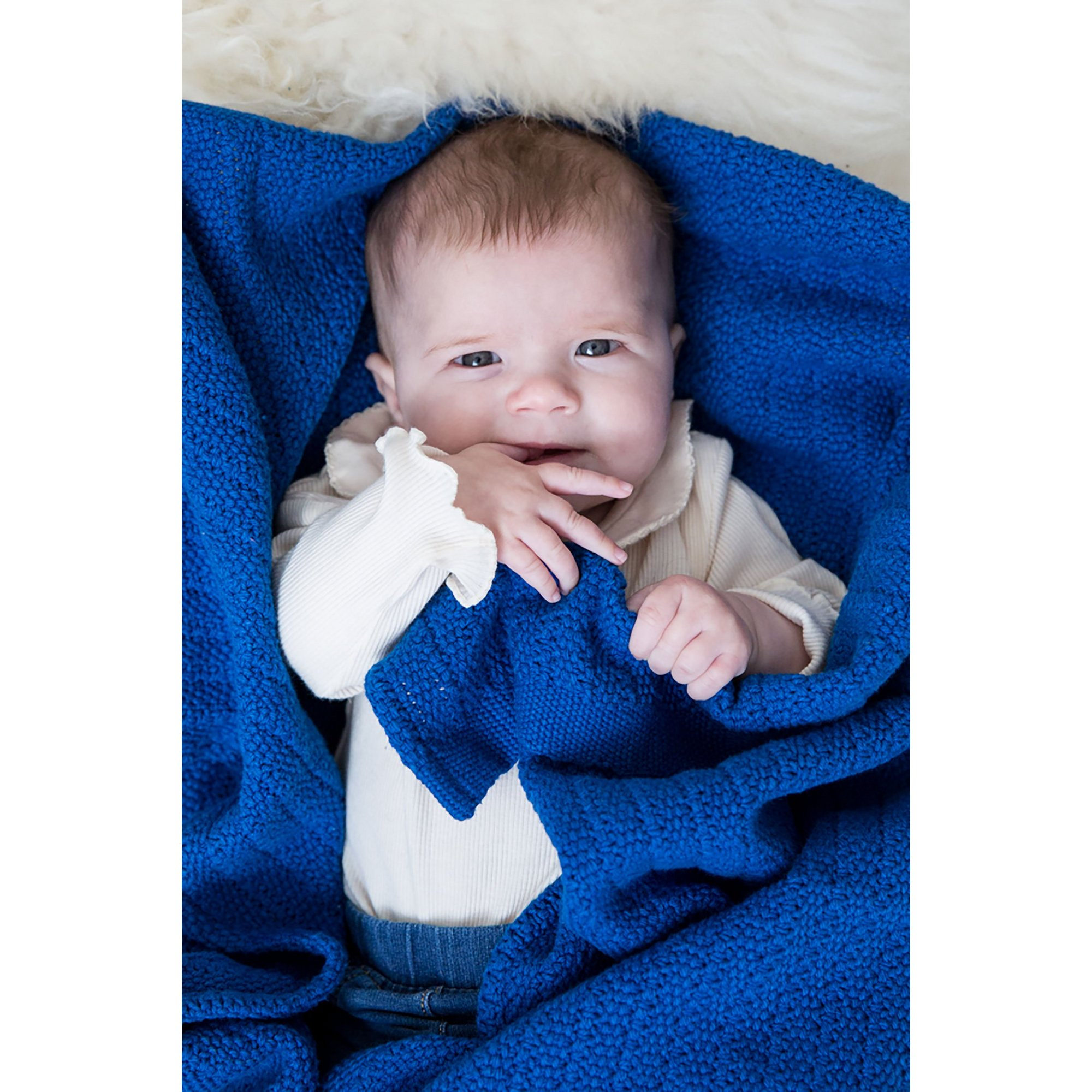 Image of Hippychick Cellular Baby Blanket - Classic Blue