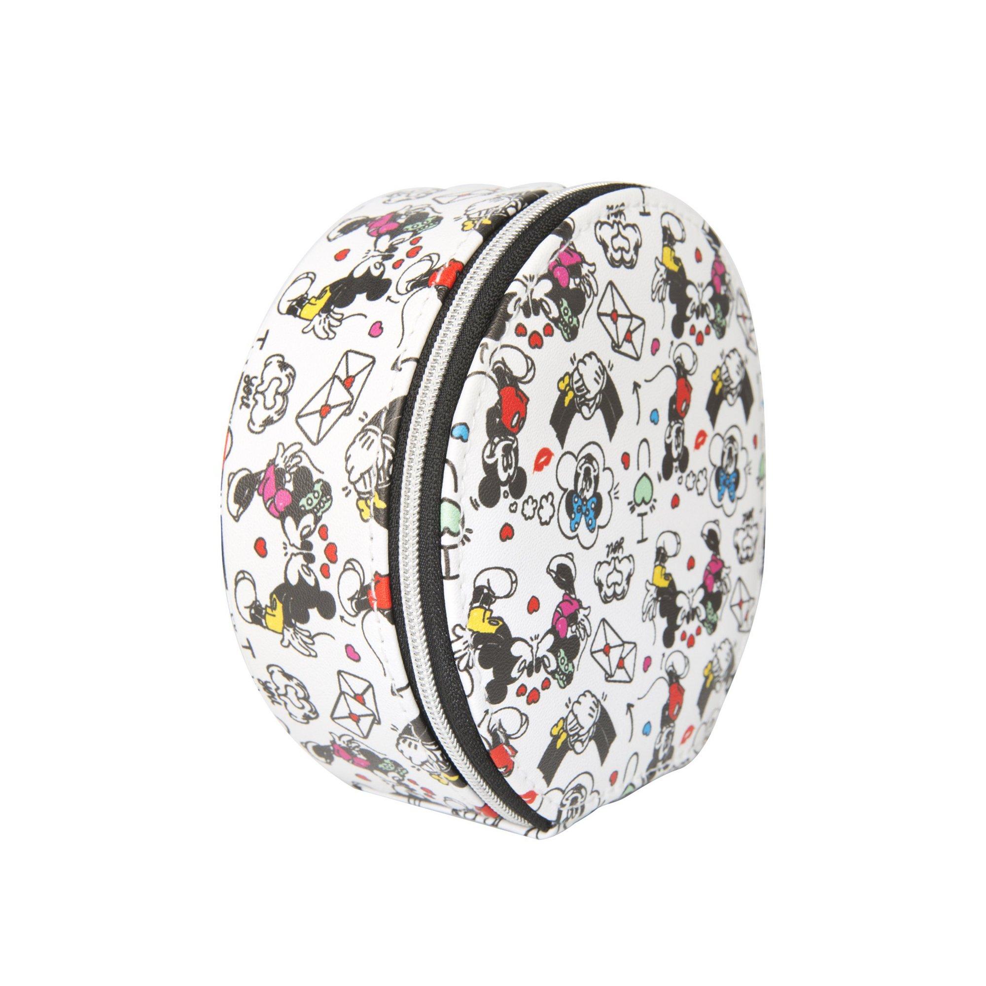 Image of Disney Mickey and Minnie Round Zip Around Jewellery Case